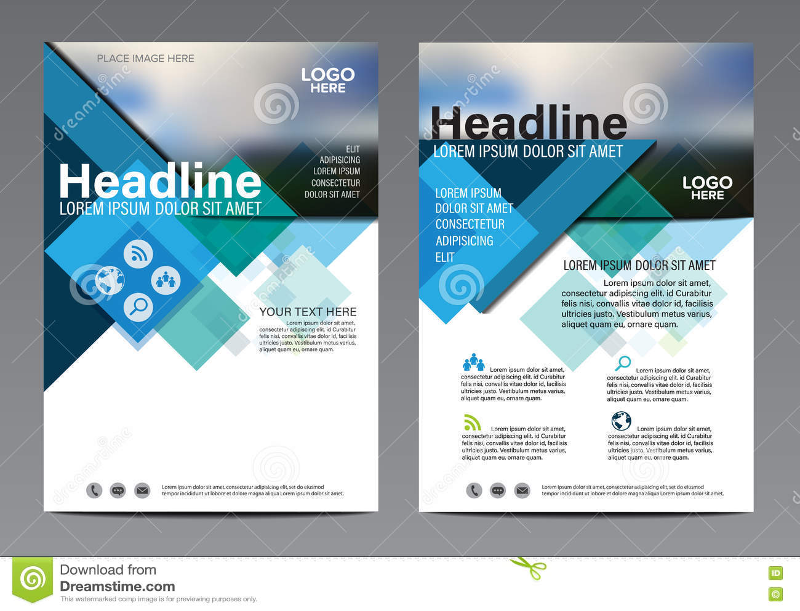 Plantilla azul del diseño del aviador del informe anual del folleto Fondo plano moderno de la presentación de la cubierta del pro