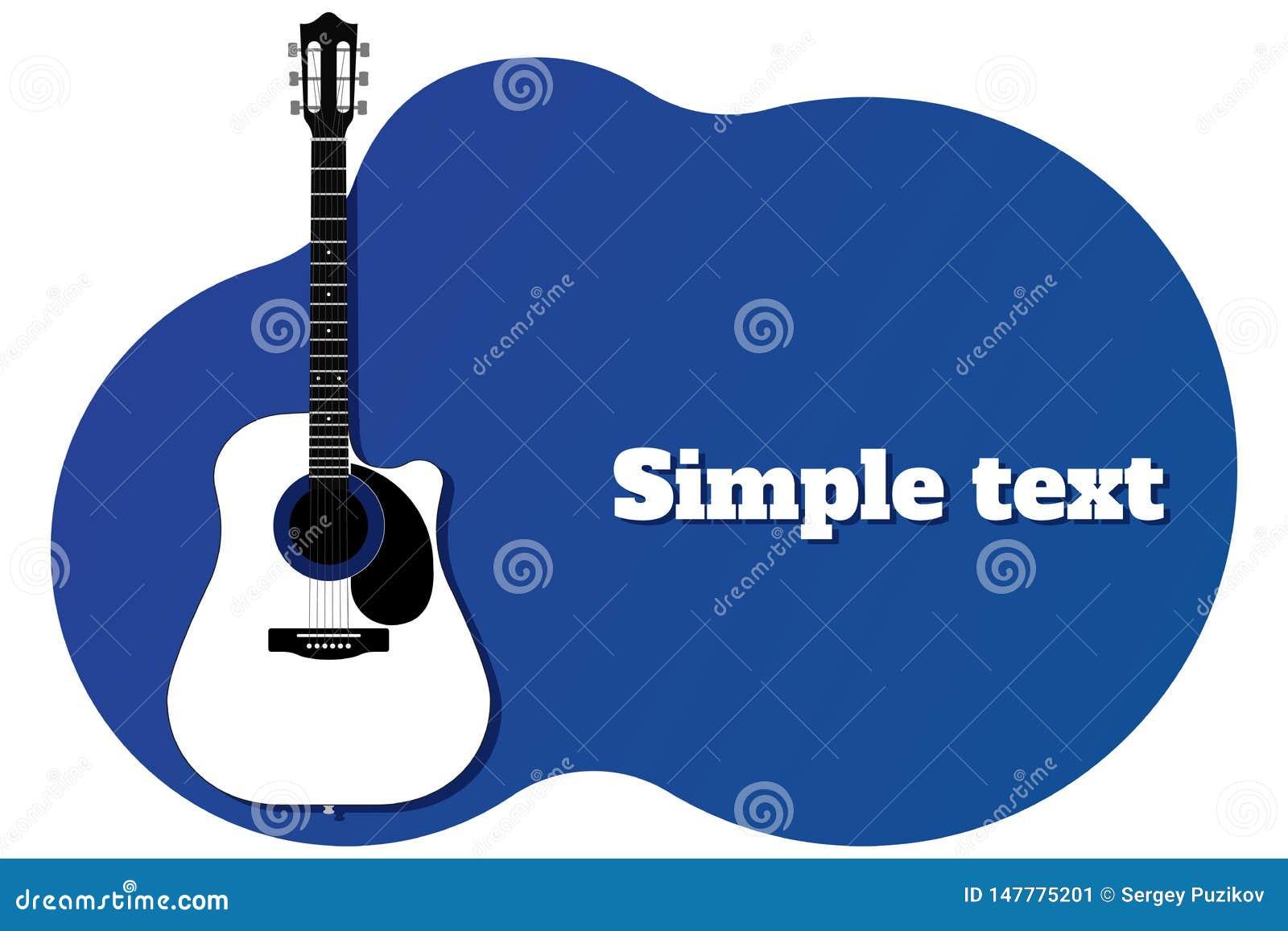 Plantilla azul para la bandera o el cartel con la guitarra y lugar para el ejemplo del vector del texto