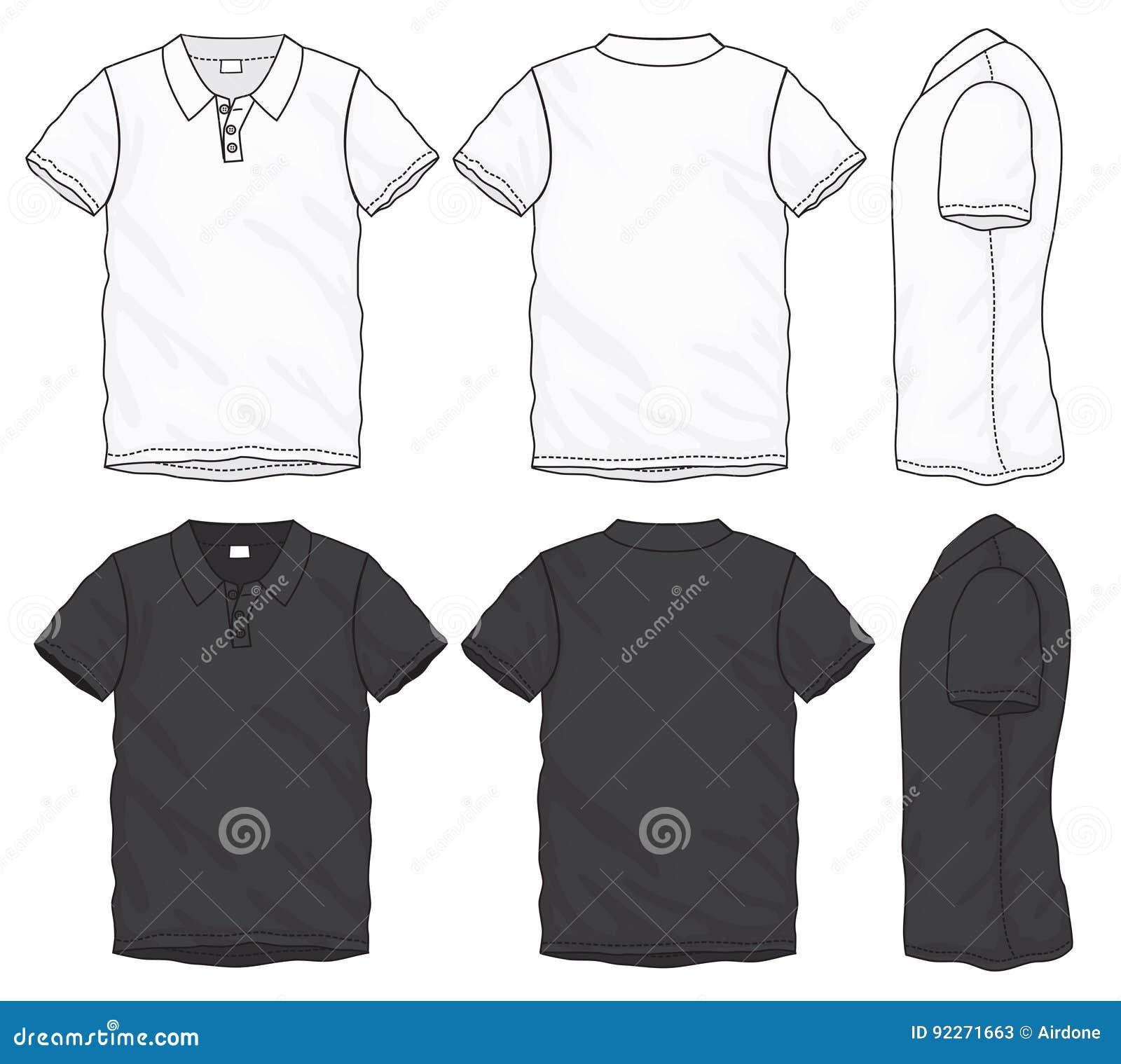 Plantilla Blanca Negra Del Diseño De La Camiseta Del Polo ... da5a3f7bc27e4