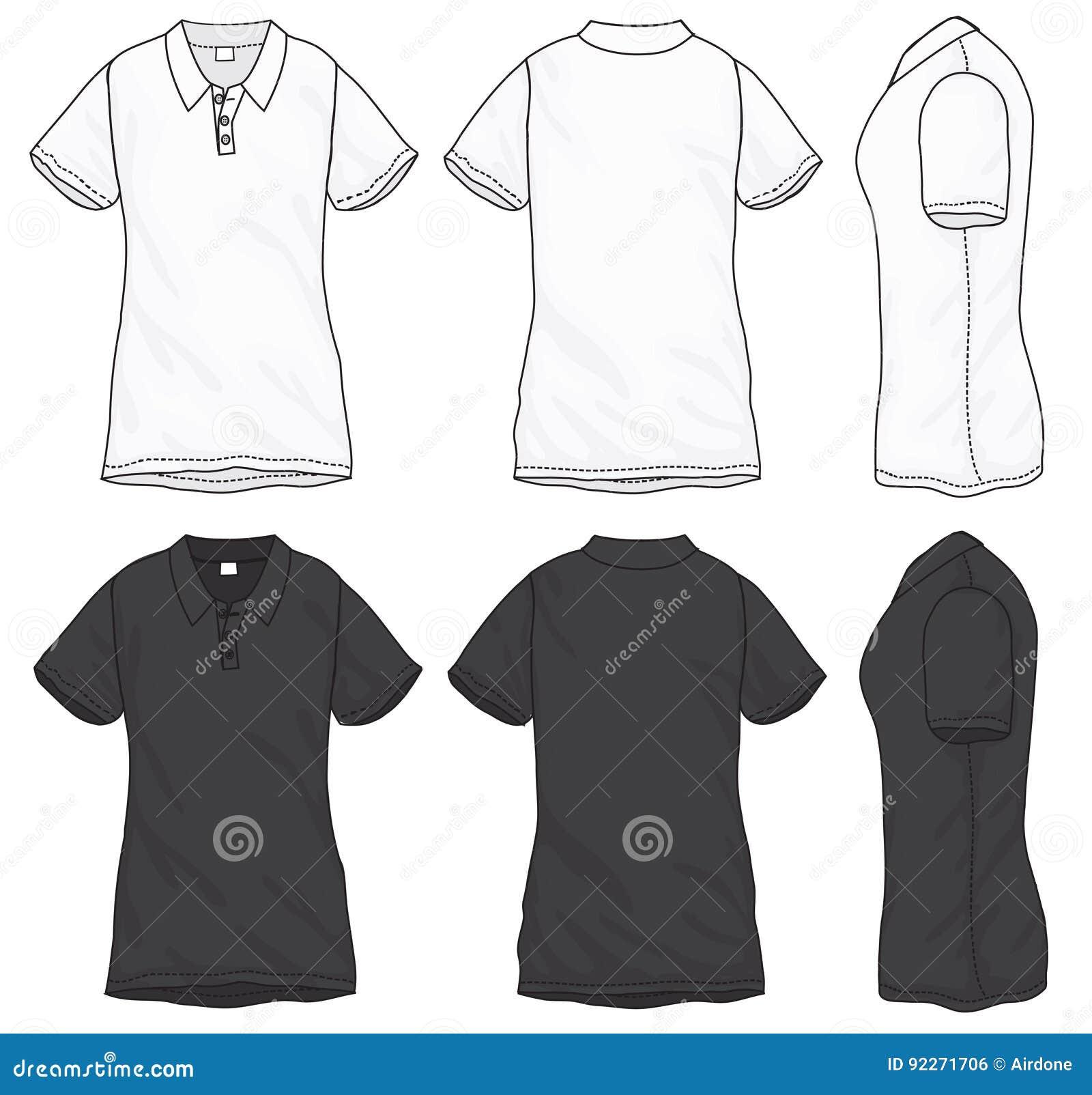 c3a95f848 Vector el ejemplo de la camiseta envuelta cortocircuito blanco y negro del  polo