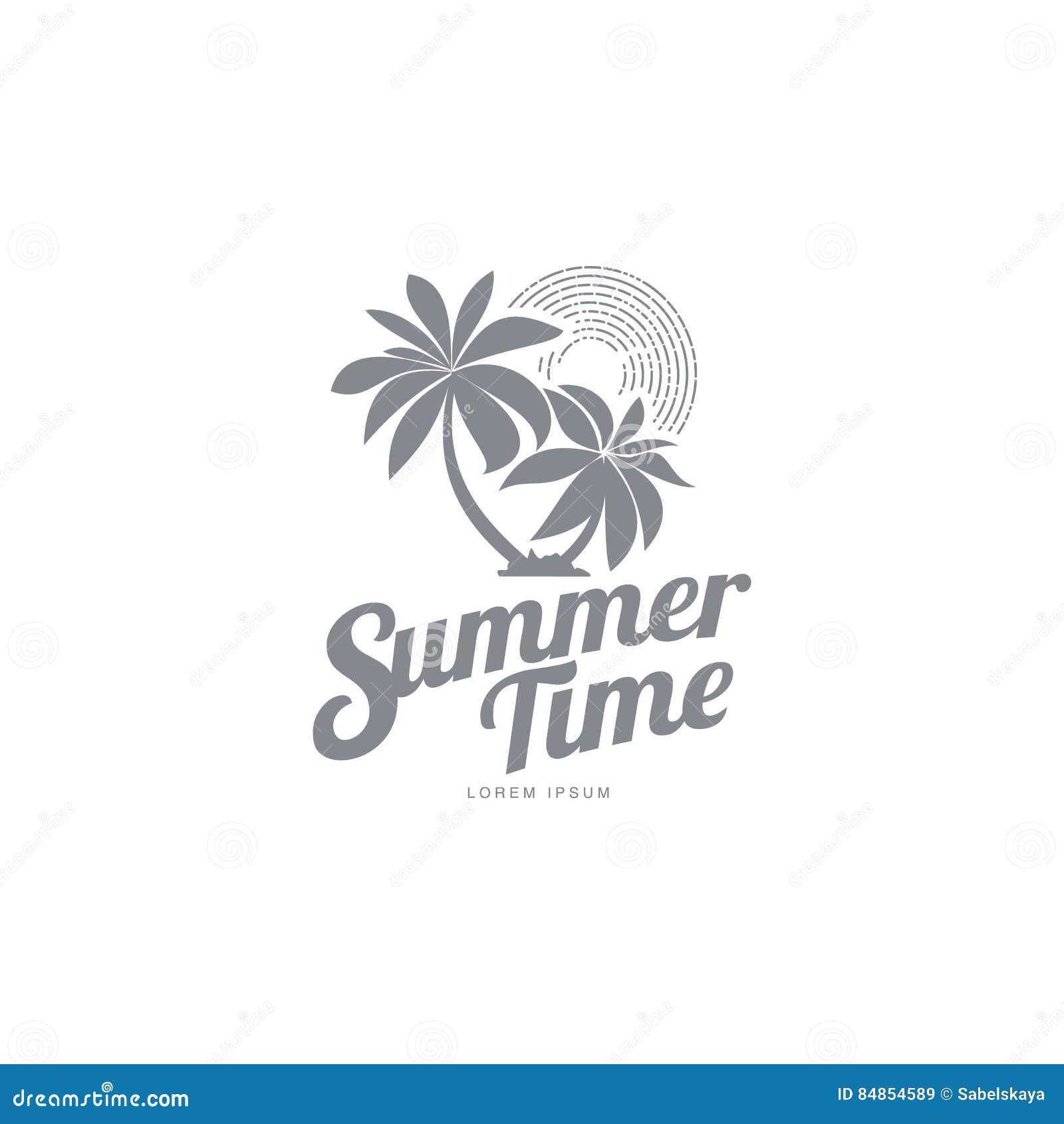 Plantilla blanco y negro del logotipo con dos palmeras