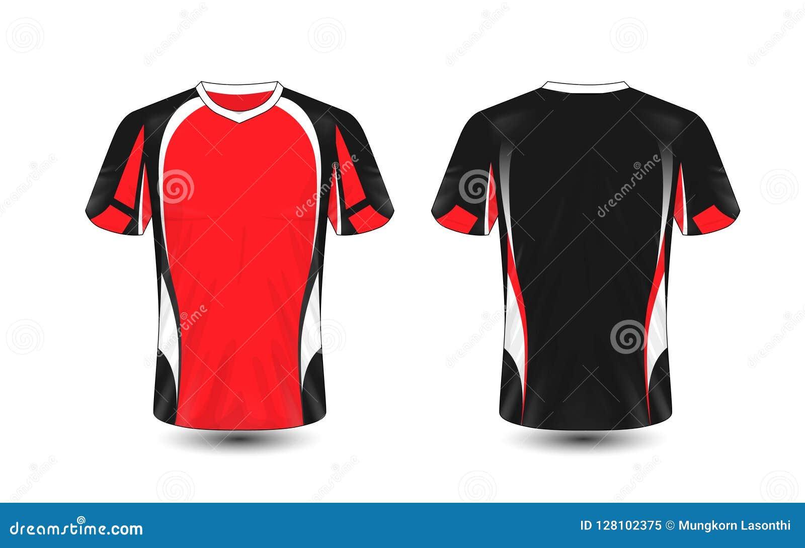 Plantilla blanco y negro roja del diseño de la camiseta del e-deporte de la disposición