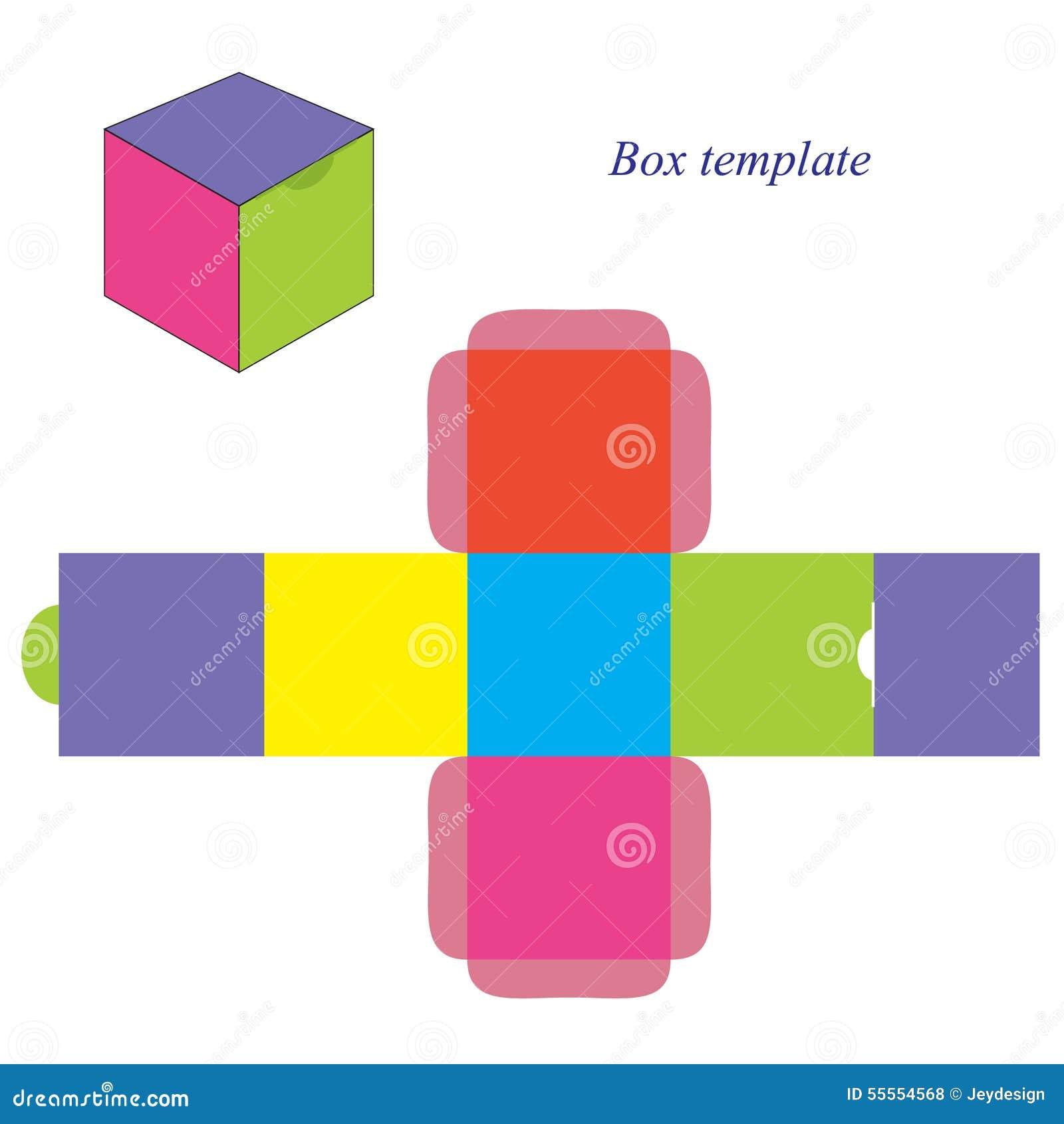 Plantilla Colorida De La Caja Cuadrada Con La Tapa Ilustración del ...