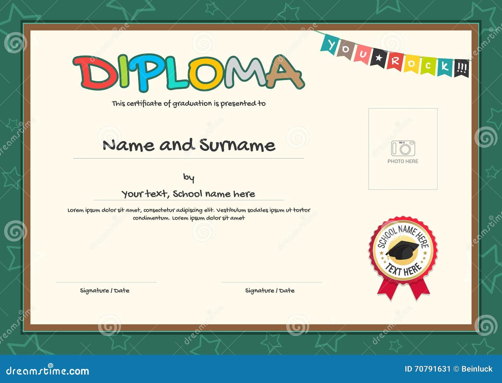 Plantilla Colorida Del Certificado Del Diploma Para Los Niños ...