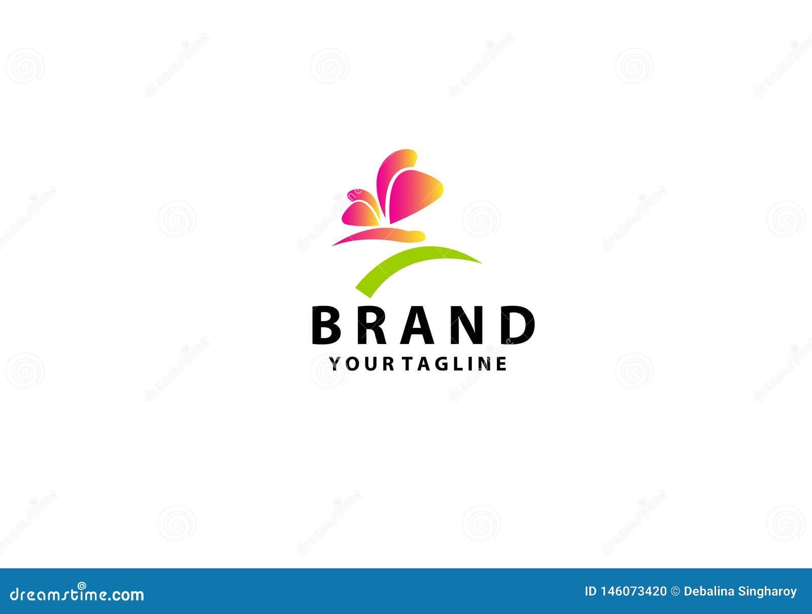 Plantilla colorida del logotipo de la mariposa con la sombra en las alas Forma abstracta de la mariposa en colores azules y viole