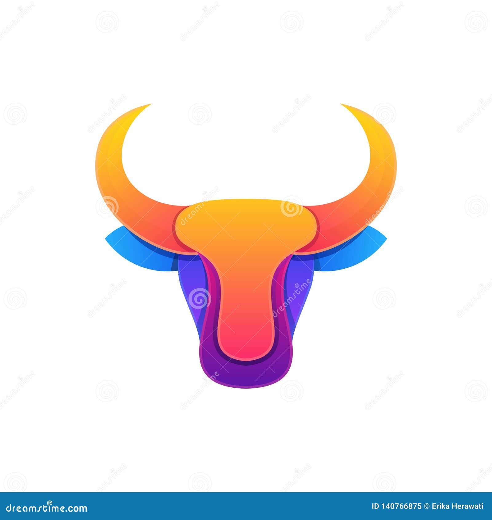 Plantilla colorida del vector del ejemplo del diseño de la cabeza abstracta de Bull