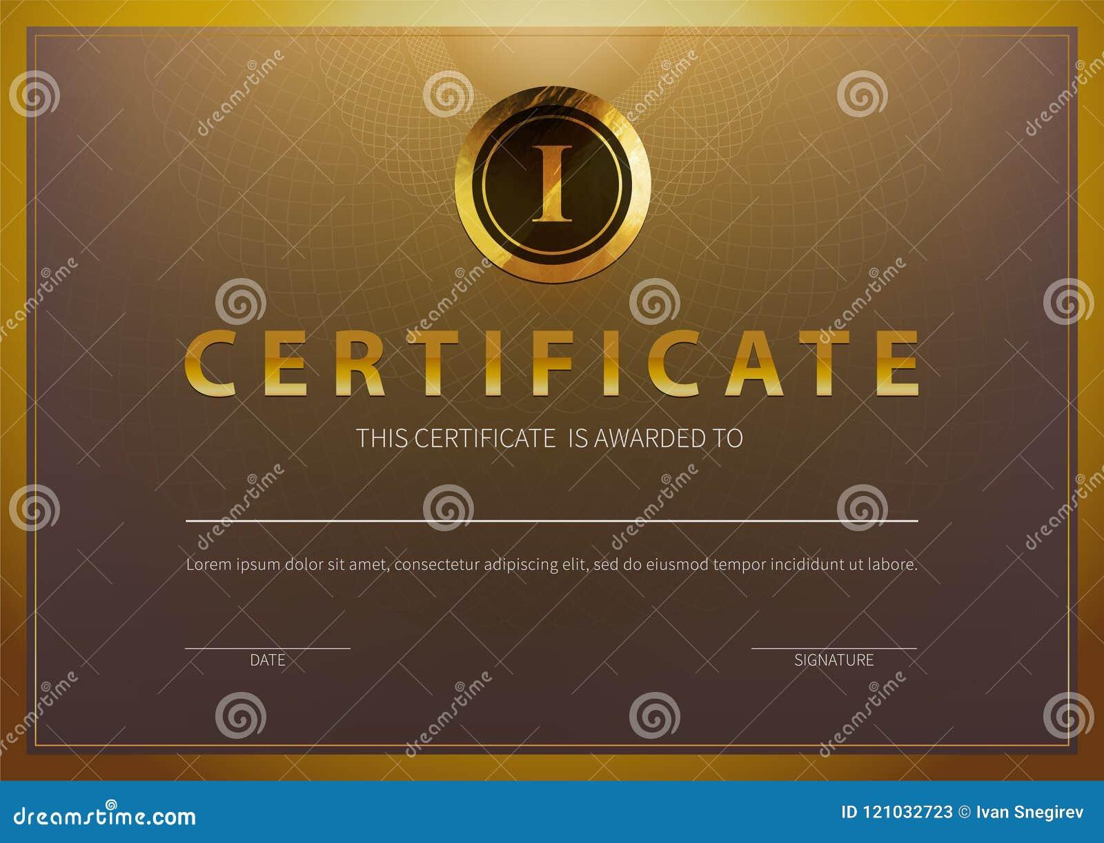 Plantilla común del certificado del ejemplo del vector con el modelo de lujo y moderno, diploma Certificado horizontal superior G
