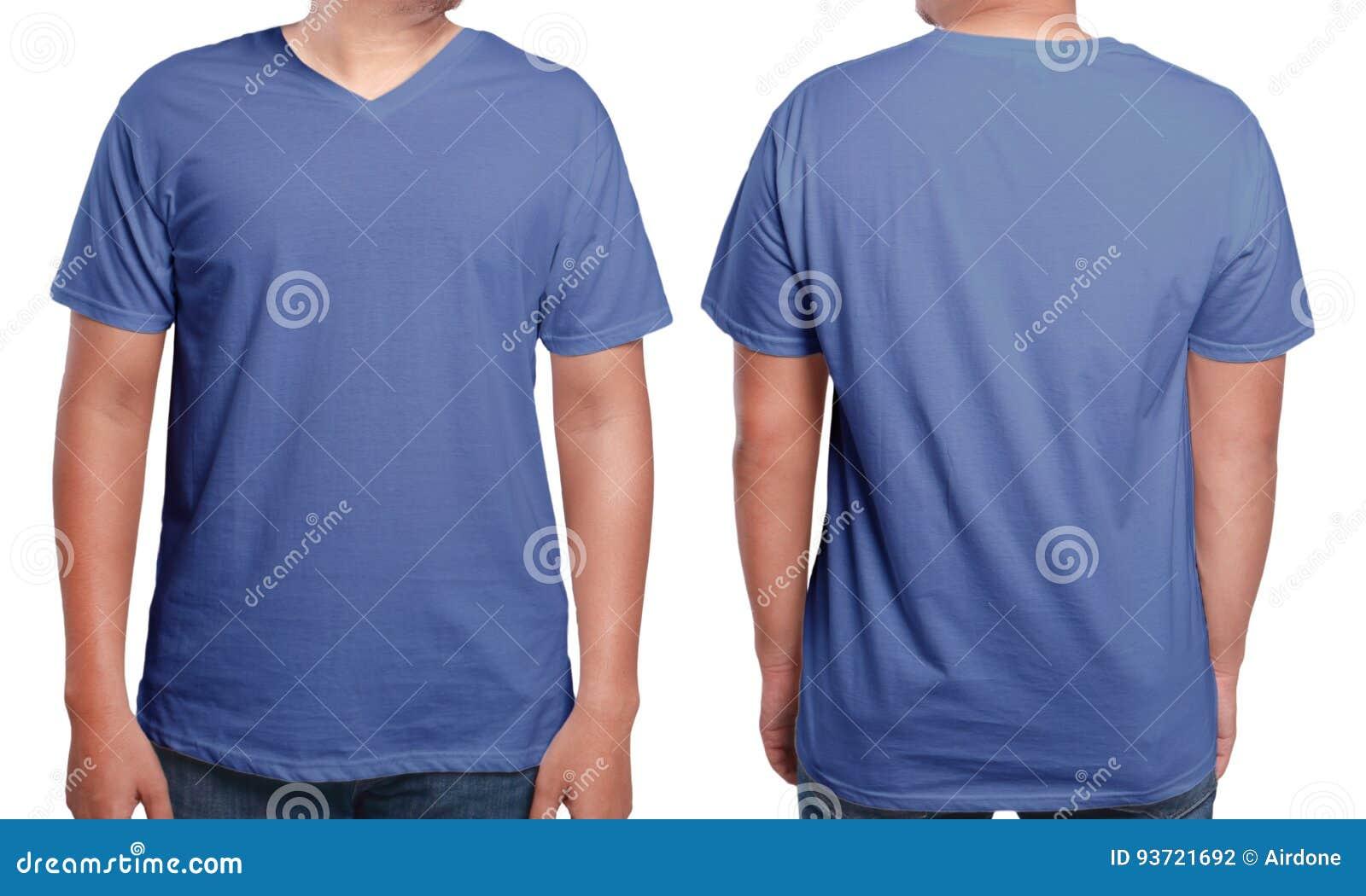 Plantilla Con Cuello De Pico Azul Del Diseño De La Camisa Foto de ...