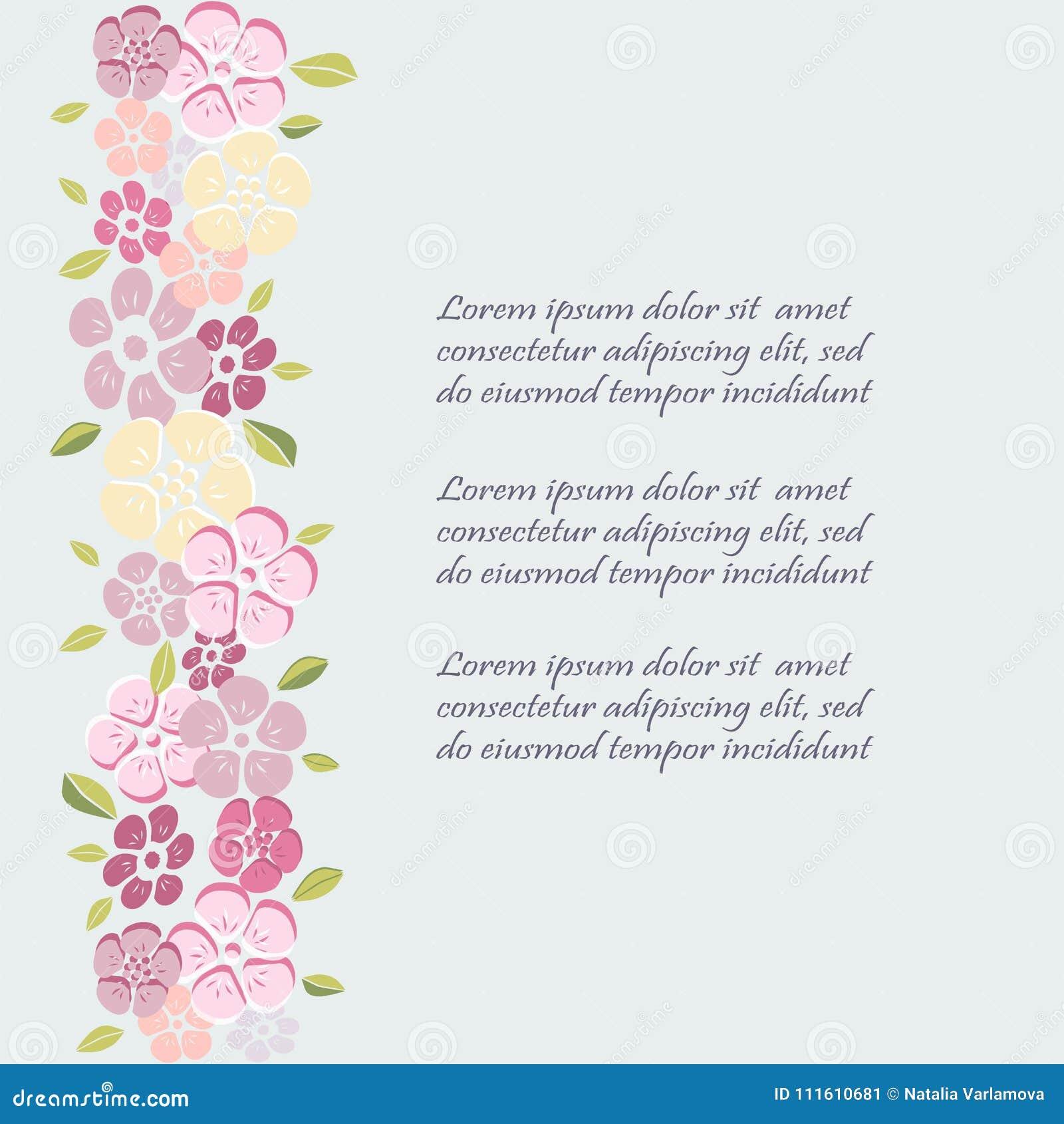 Plantilla Con Las Flores Para La Invitación Del Partido