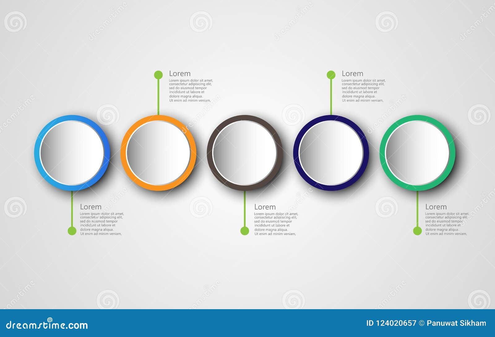 Plantilla con 5 opciones, di de proceso del diseño del infographics de la cronología