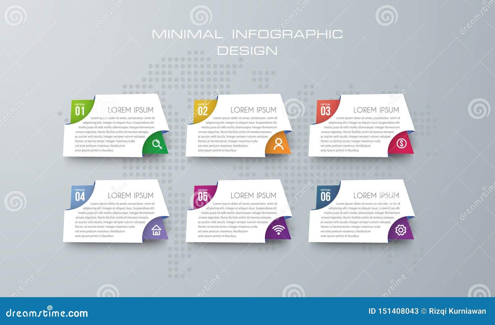 Plantilla con 6 opciones, opción de Infographic de la bandera para infographic