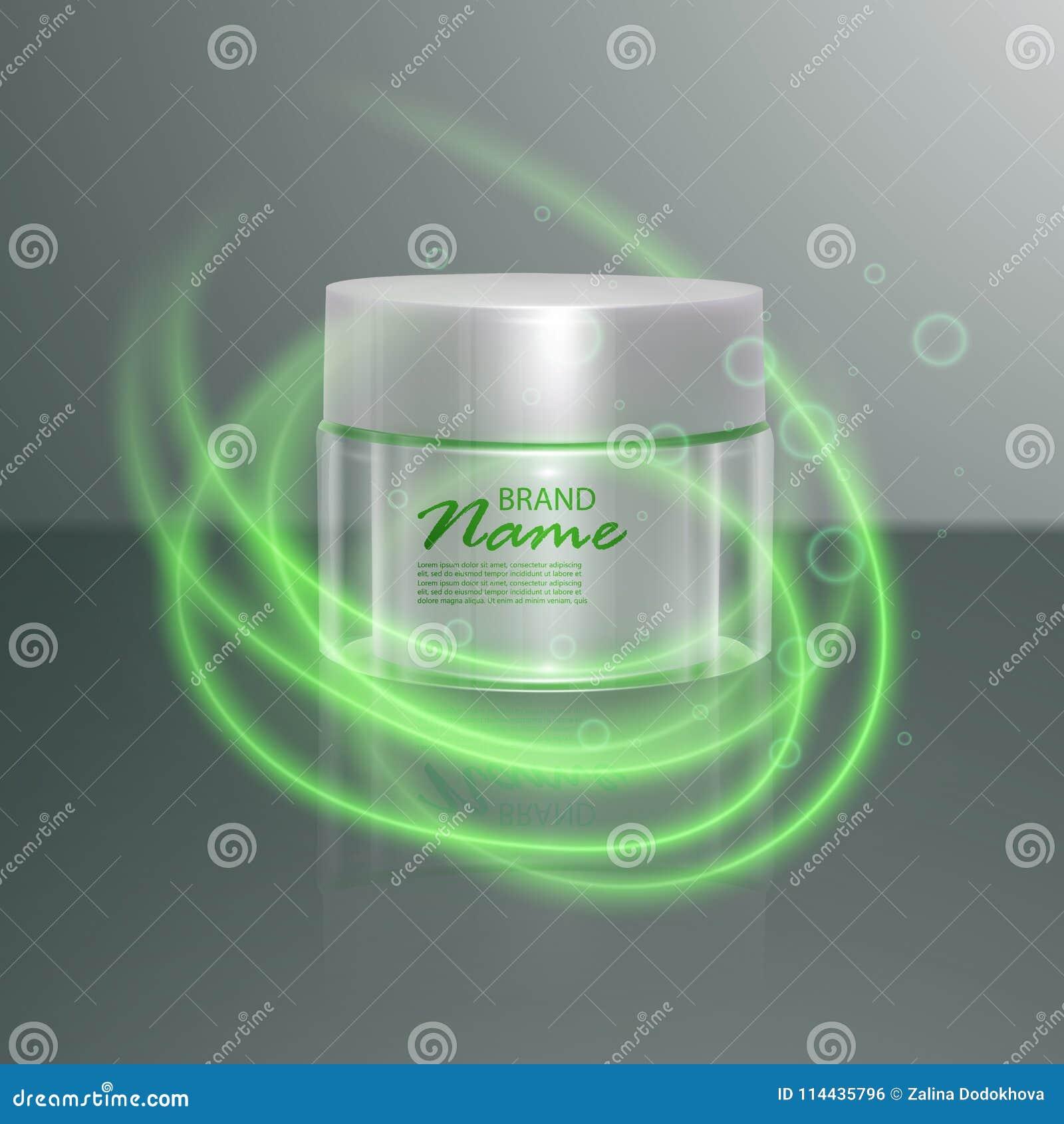 Plantilla cosmética de lujo para los anuncios, tarro cosmético realista 3d con efecto de la llamarada de la iluminación Ejemplo d