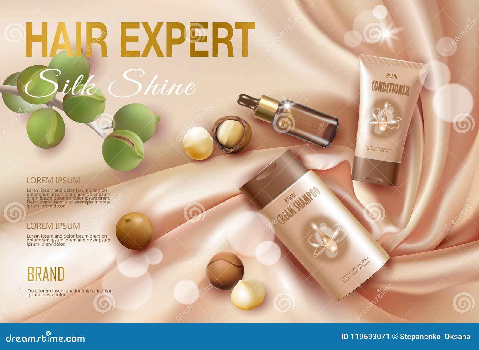 Plantilla cosmética realista del anuncio del aceite de nuez de macadamia 3d Suero de oro ligero del acondicionador del champú del