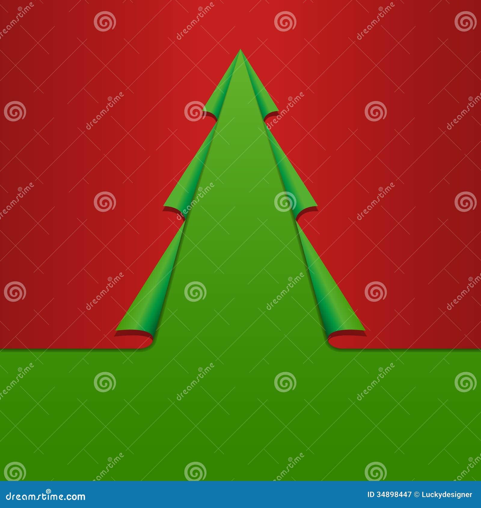 Tarjeta De Navidad Con La Plantilla De Papel Roja Verde Doblada Del ...