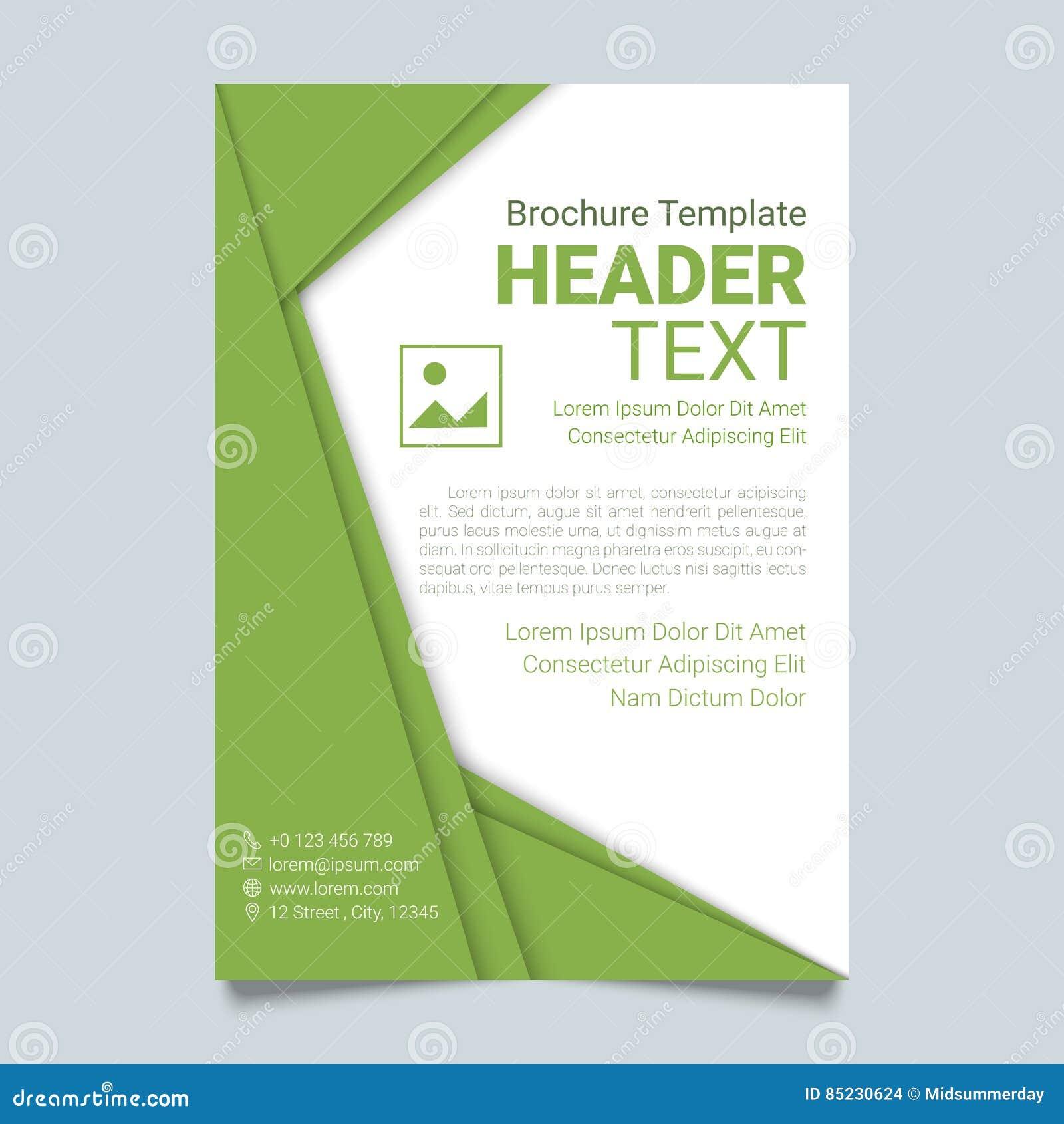 Plantilla creativa del vector del folleto en color verde Cartel moderno, plantilla del negocio del aviador en un estilo material