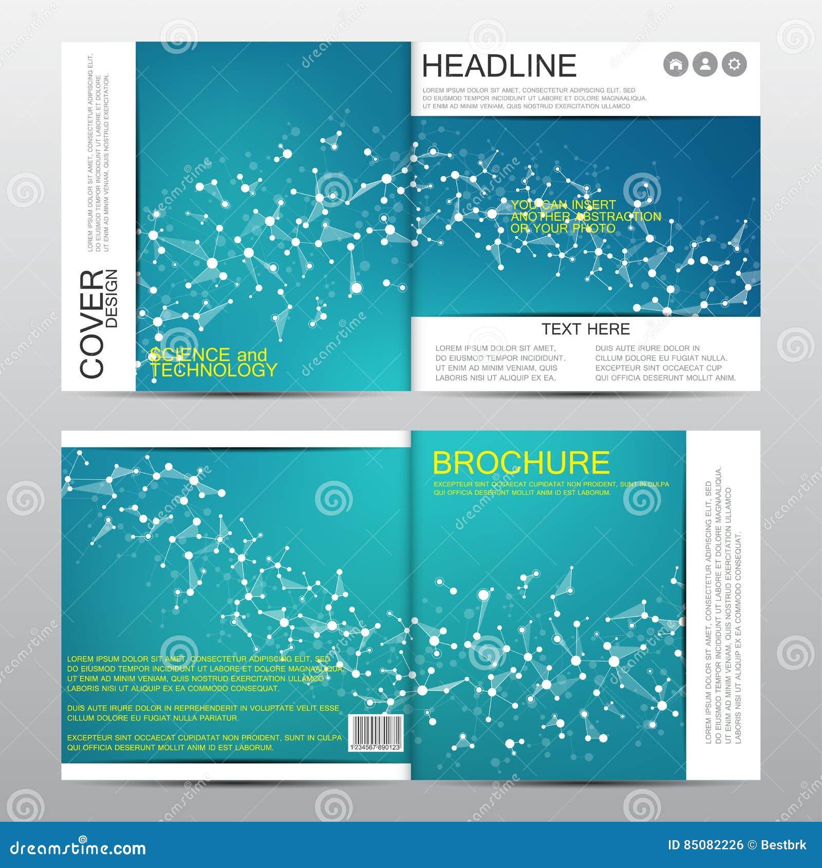 Plantilla cuadrada del folleto con la estructura molecular Fondo abstracto geométrico Medicina, ciencia, tecnología Vector