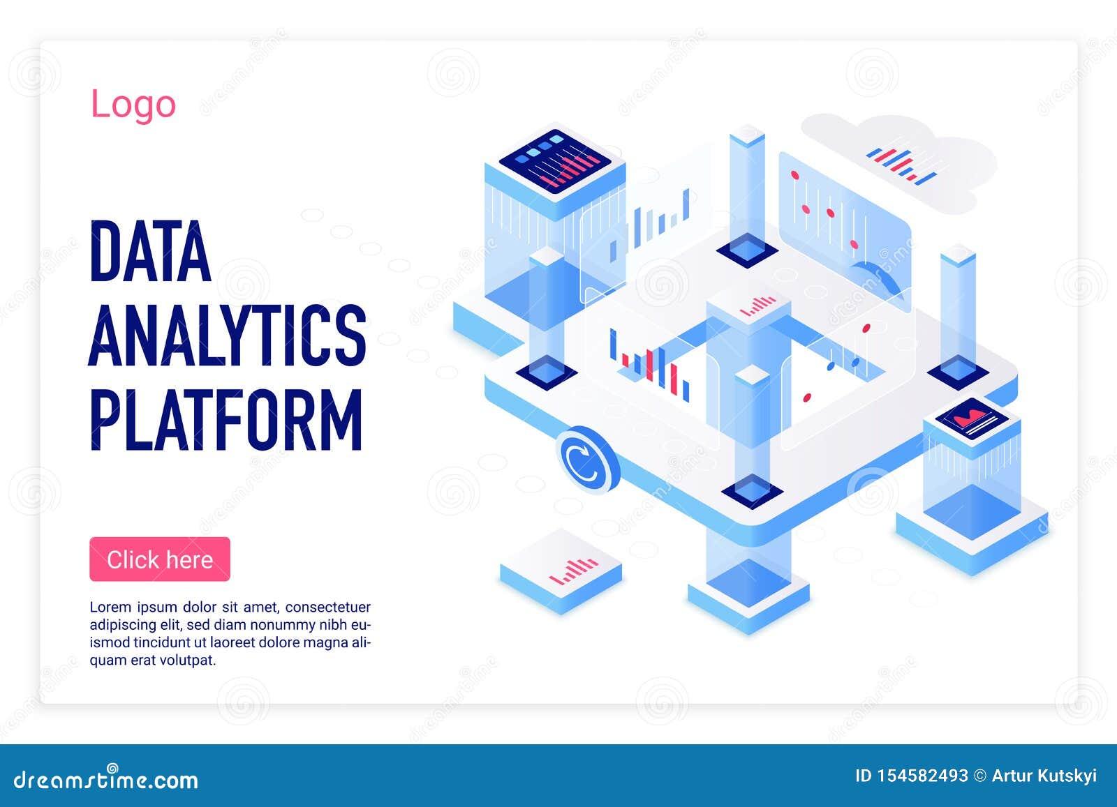 Plantilla de aterrizaje isométrica de la página del vector de la plataforma del analytics de los datos