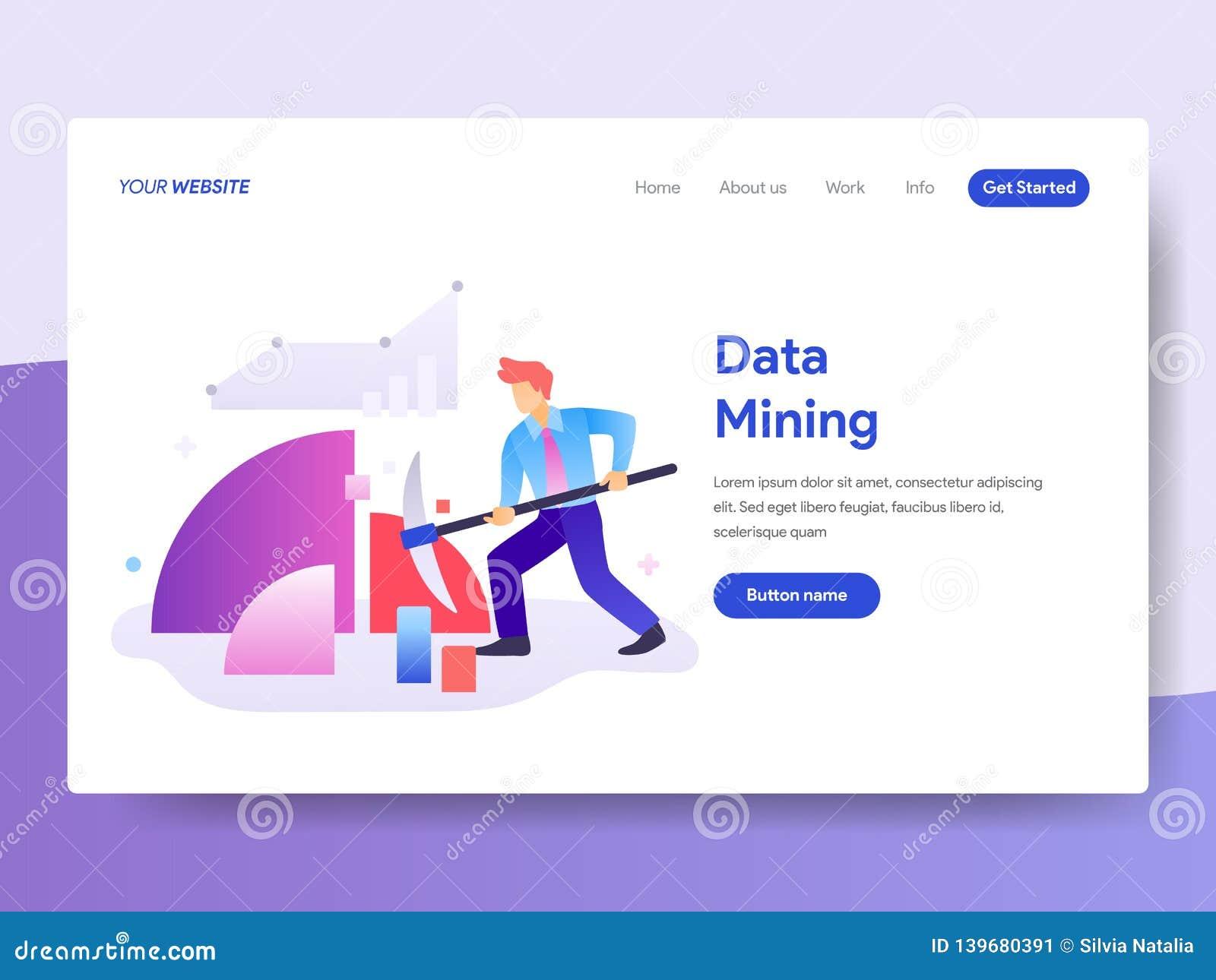 Plantilla de aterrizaje de la página del concepto de la minería de datos r Vector