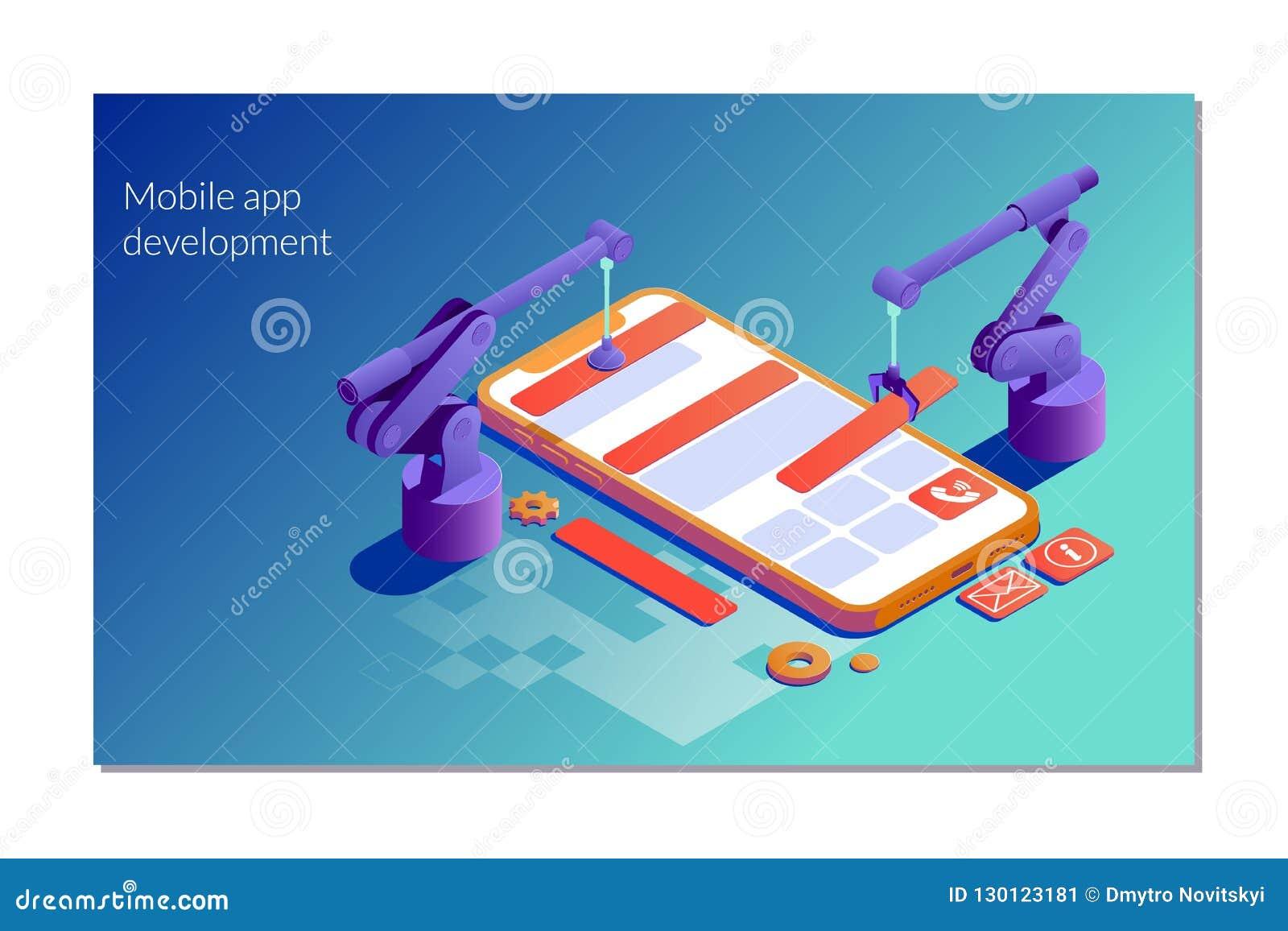 Plantilla de aterrizaje de la página del desarrollo móvil del app Ejemplo isométrico plano del vector aislado en el fondo blanco
