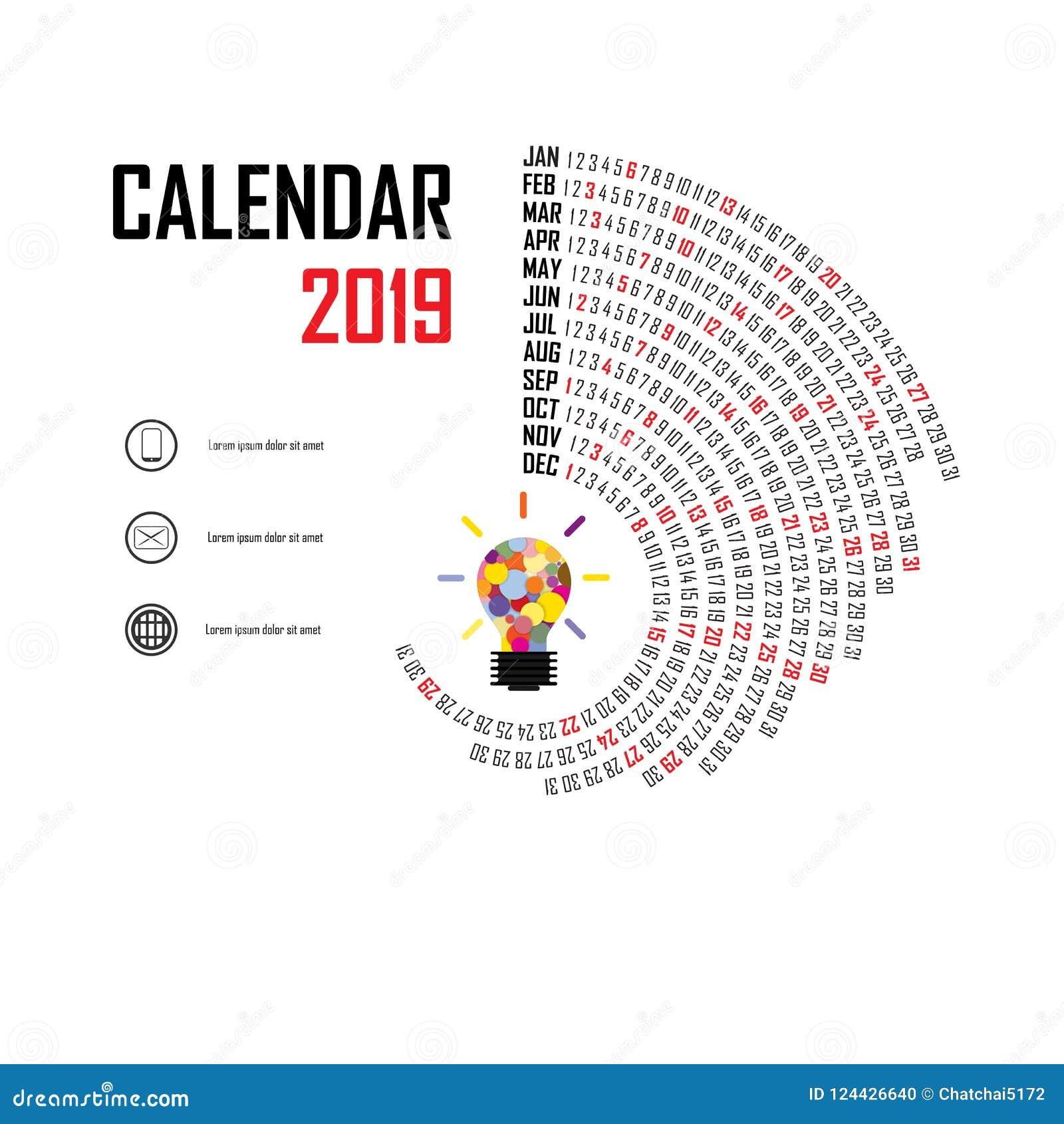 Calendario M.Plantilla De 2019 Calendarios Calendario Espiral Sistema Del