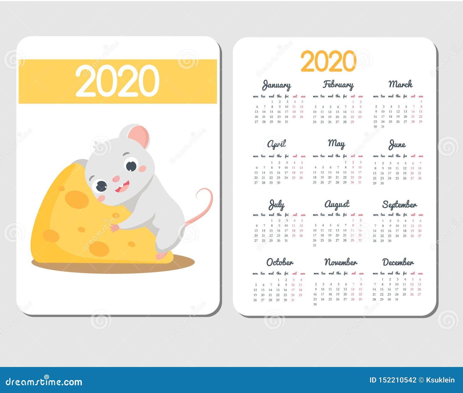Plantilla de 2020 calendarios con el ratón de la historieta Diseño chino del Año Nuevo con el carácter divertido de la rata en el