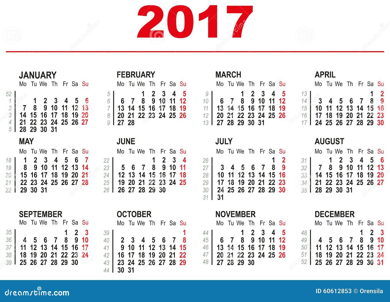 Calendario De Semanas.Plantilla De 2017 Calendarios Semanas Horizontales Primer Dia Lunes