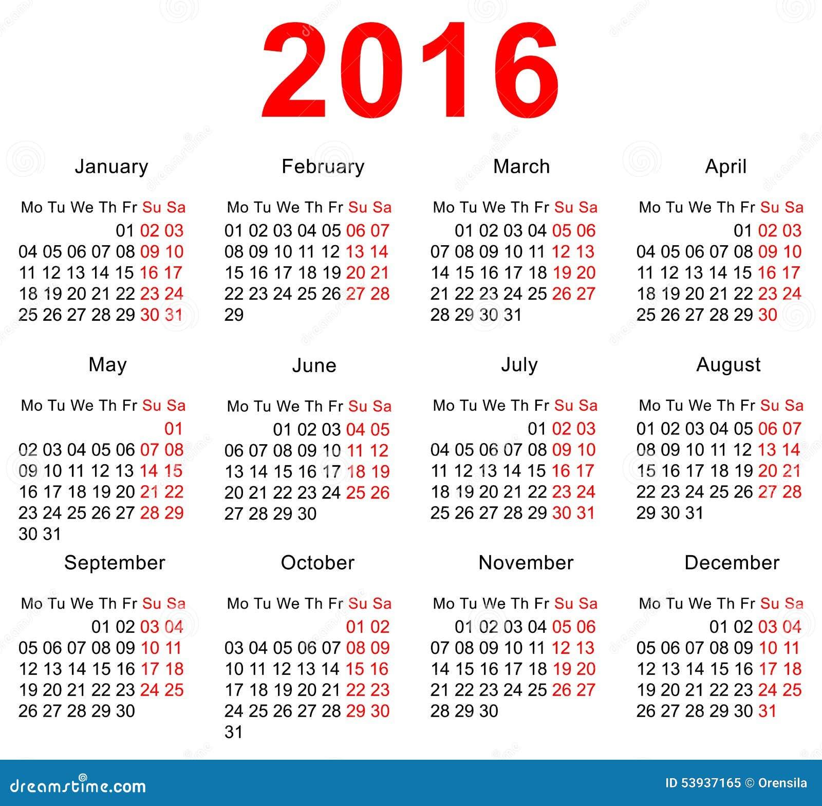 Plantilla De 2016 Calendarios Semanas Horizontales Primer Día Lunes ...