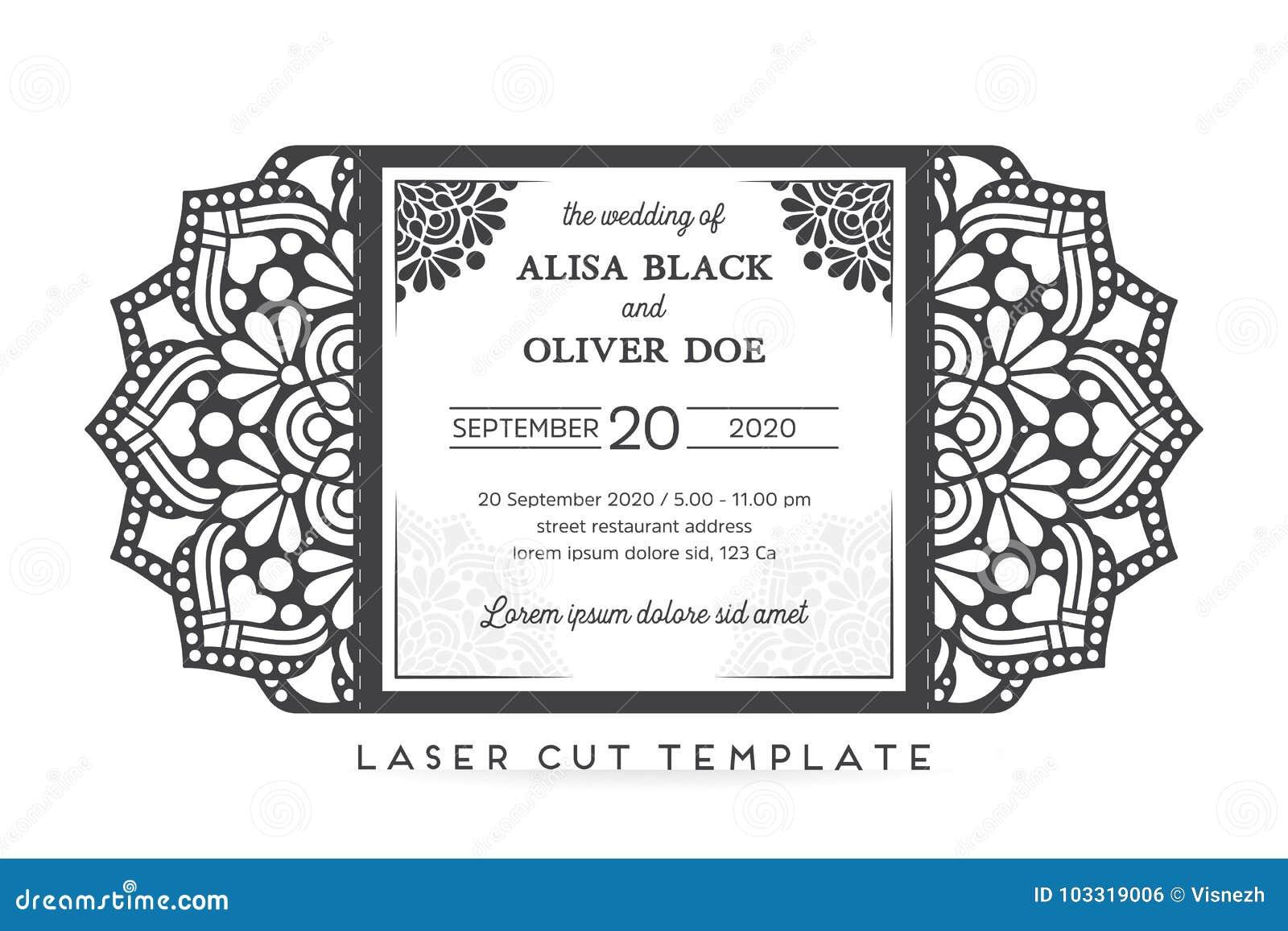 Plantilla De Corte Del Laser De La Invitación De Boda Del Vector ...