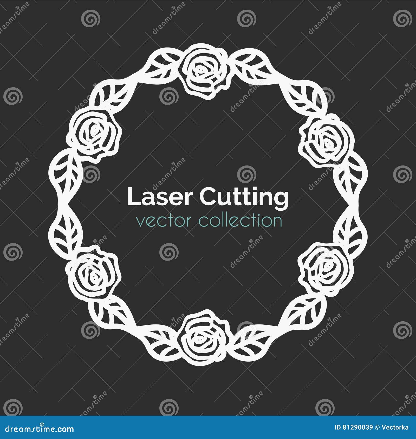 Plantilla De Corte Del Laser Tarjeta Redonda Con Las Rosas ...
