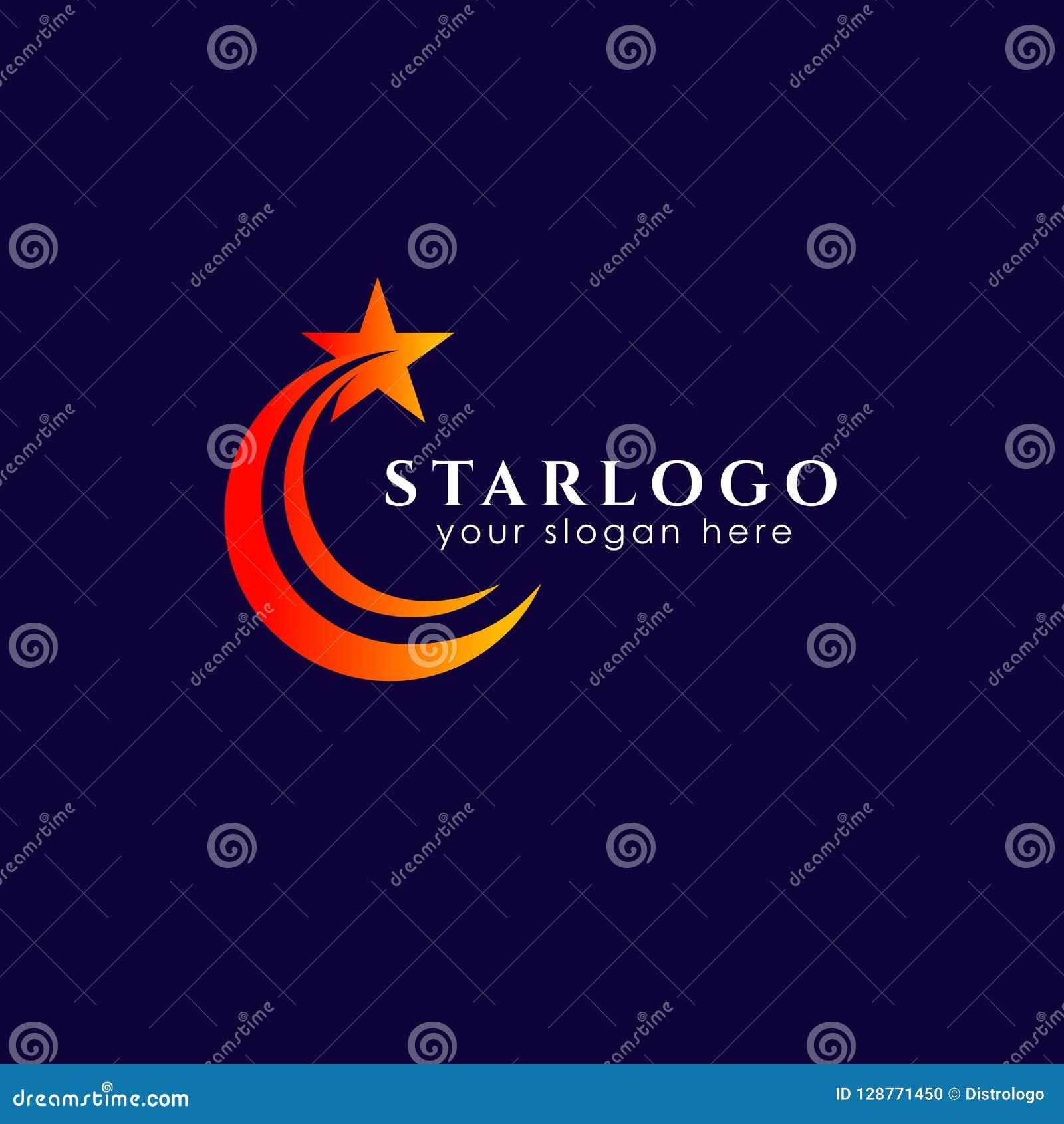 Plantilla de la acción del diseño del logotipo de la estrella que vuela Icono del vector de la estrella