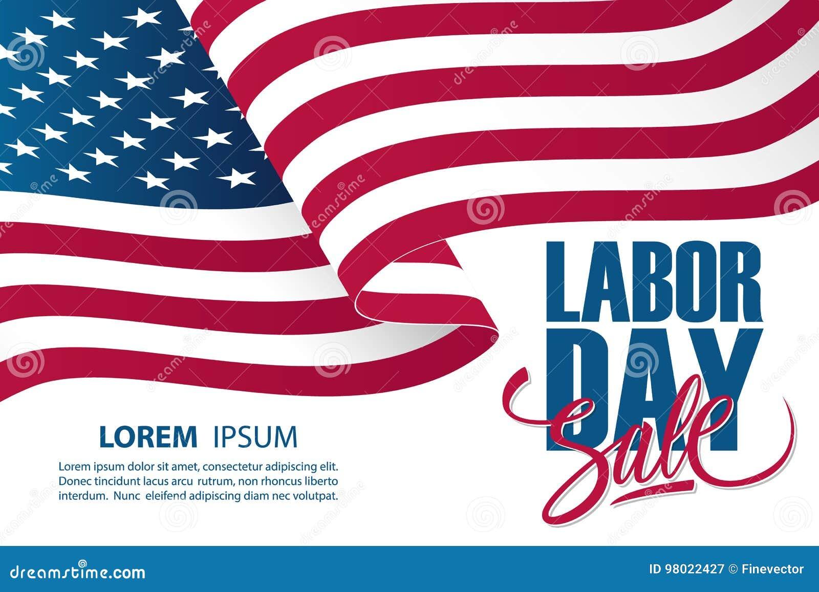 Plantilla de la bandera de la oferta especial de la venta del Día del Trabajo con agitar la bandera nacional americana
