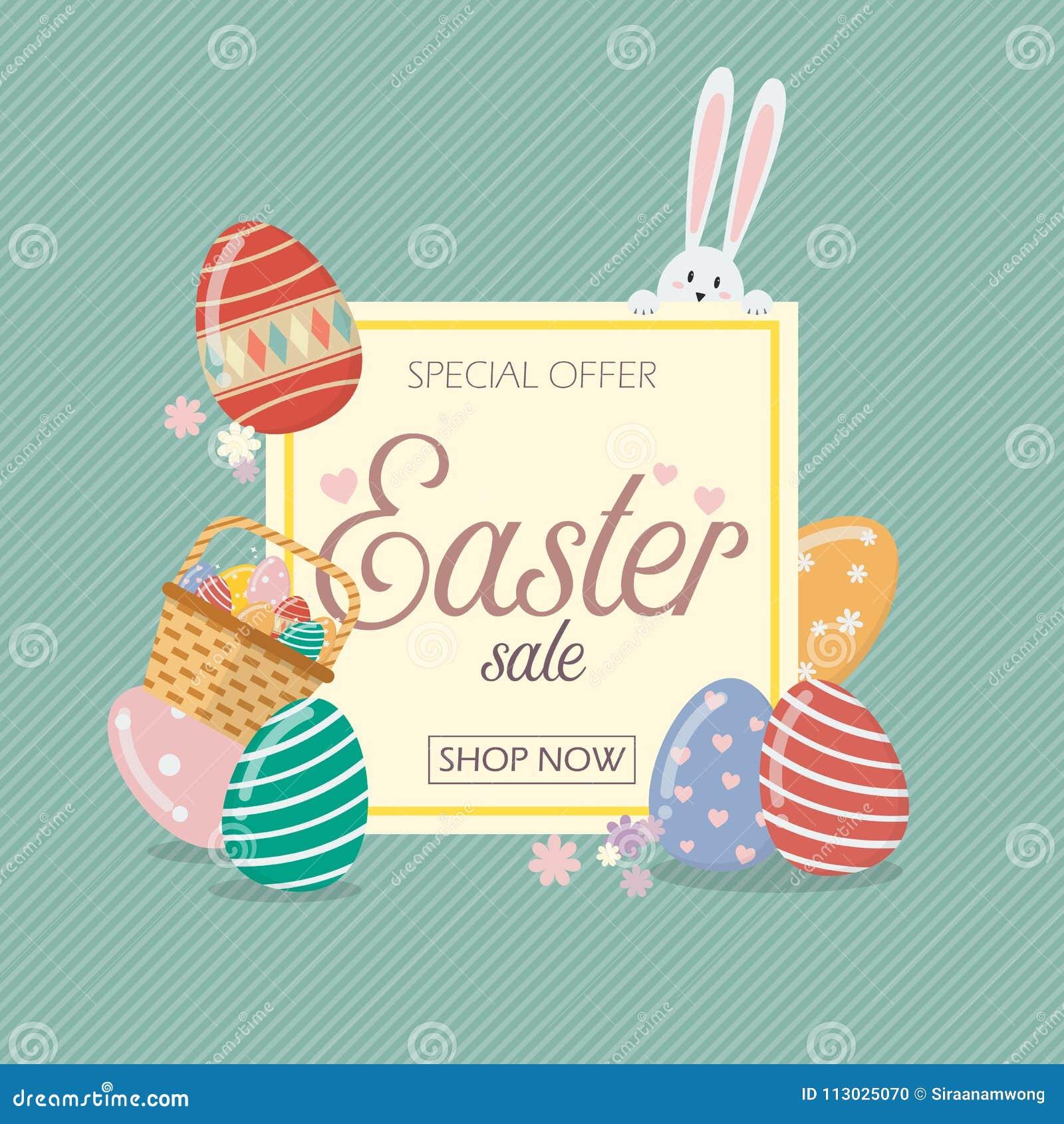 Plantilla de la bandera de la venta de Pascua con el conejo y los huevos de conejito