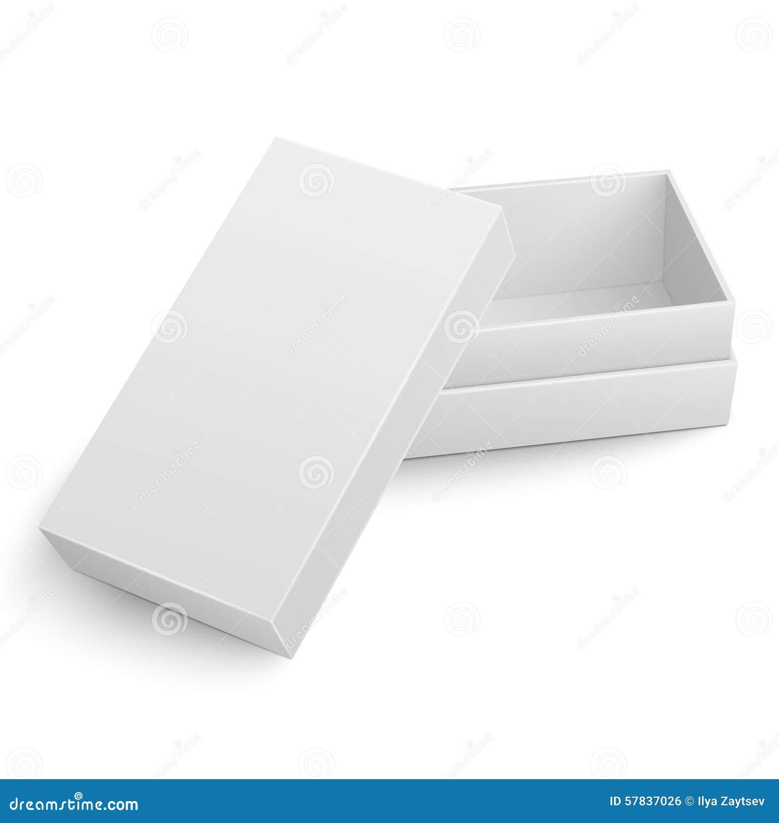 Plantilla De La Caja De Cartón Blanca Con La Tapa Abierta ...