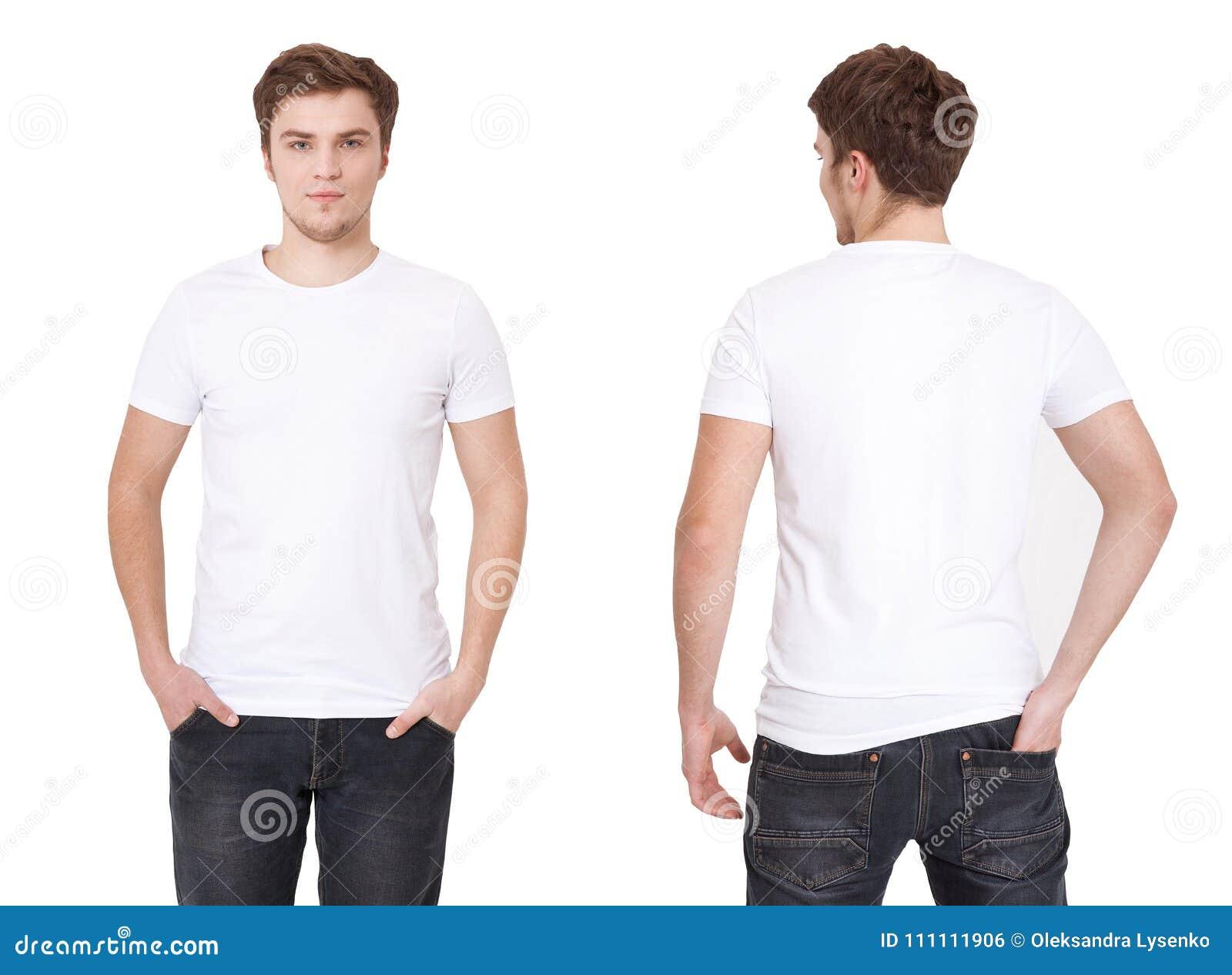 Plantilla de la camiseta Visión delantera y trasera Mofa para arriba aislada en blanco
