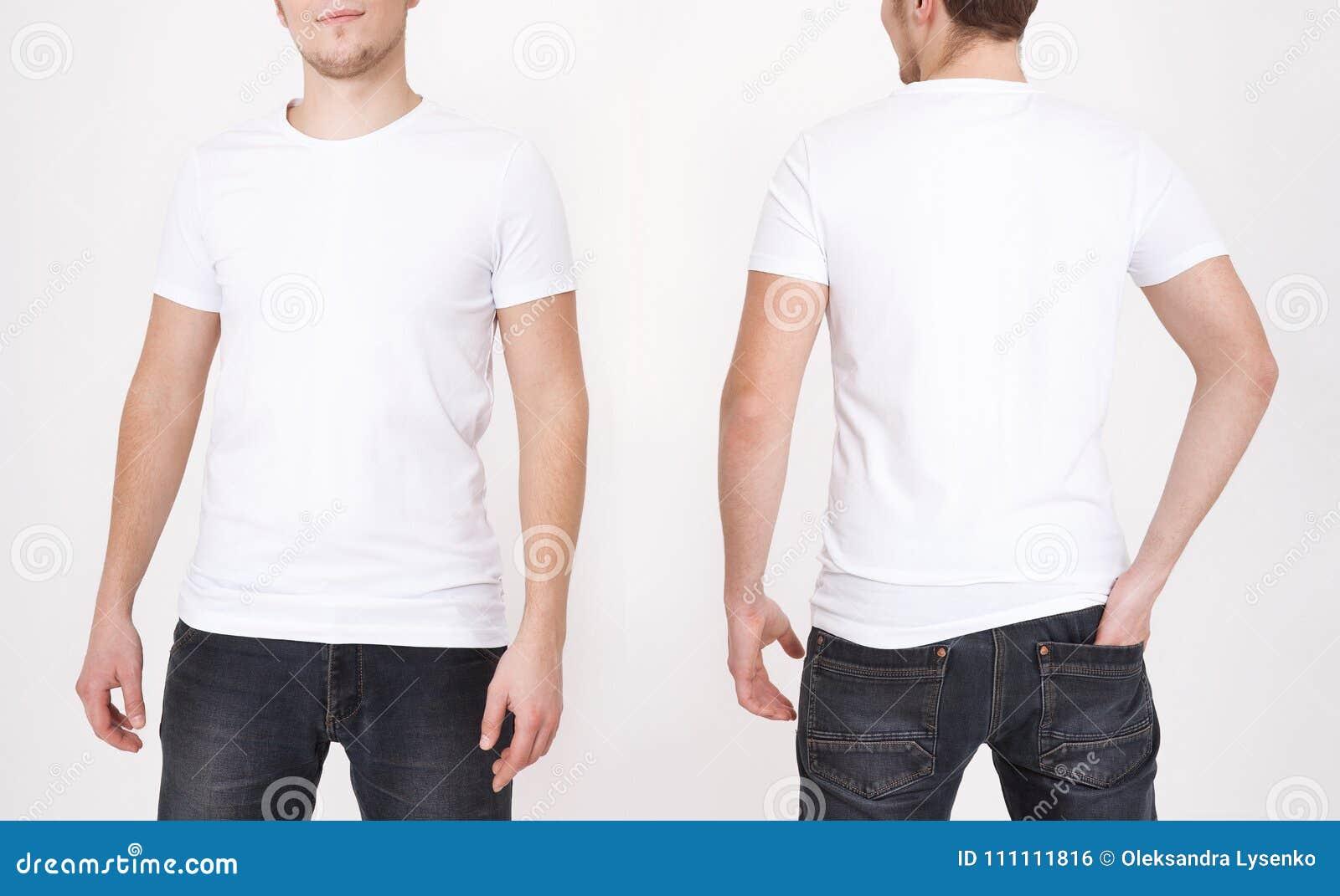 Plantilla de la camiseta Visión delantera y trasera Mofa para arriba aislada en el fondo blanco