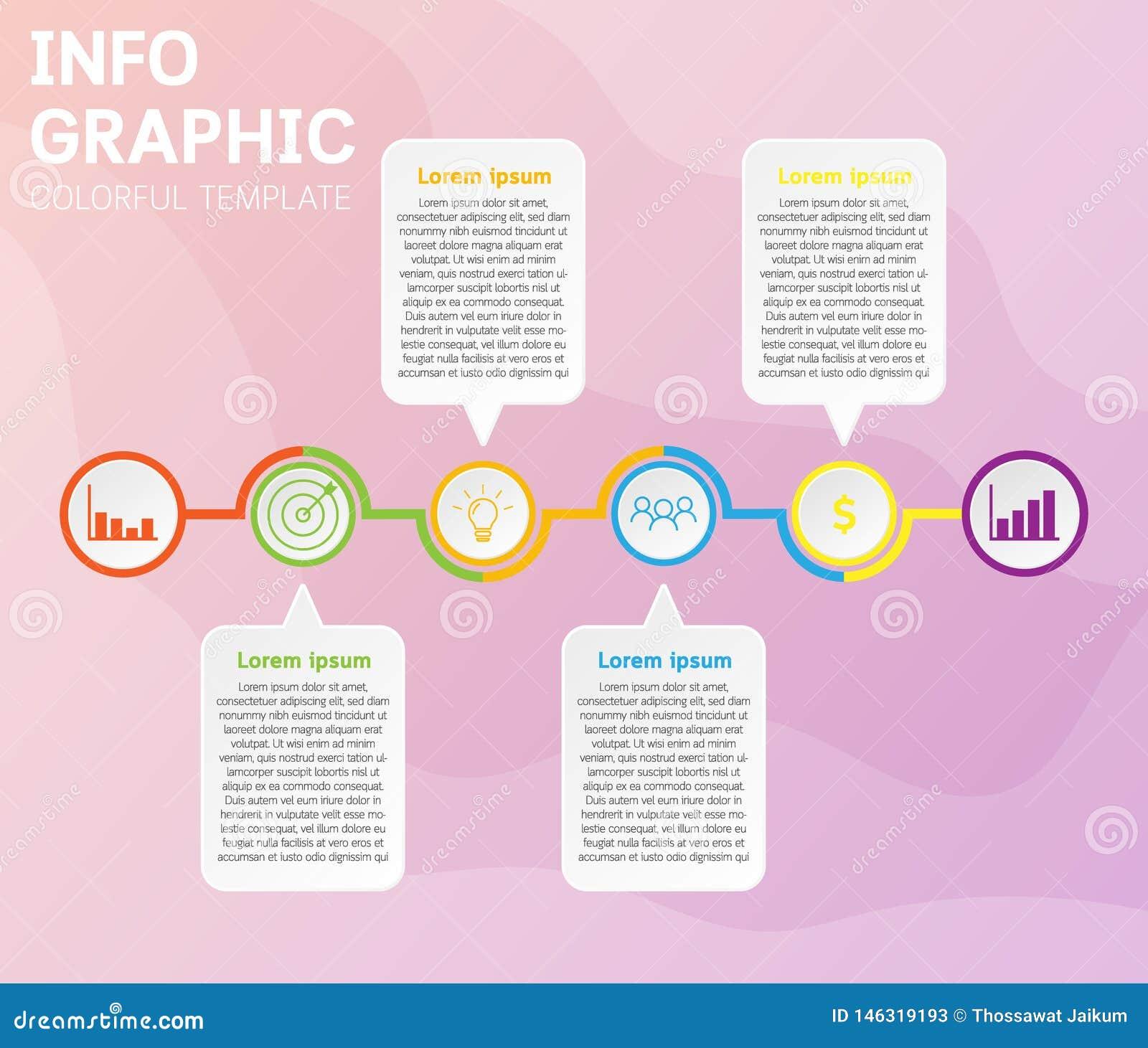 Plantilla de la cronolog?a de Infographics con 6 opciones en diagramas de la cronolog?a