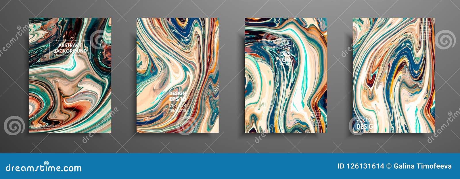 Plantilla de la disposición del aviador con la mezcla de pinturas acrílicas Textura de mármol líquida Arte flúido Aplicable para