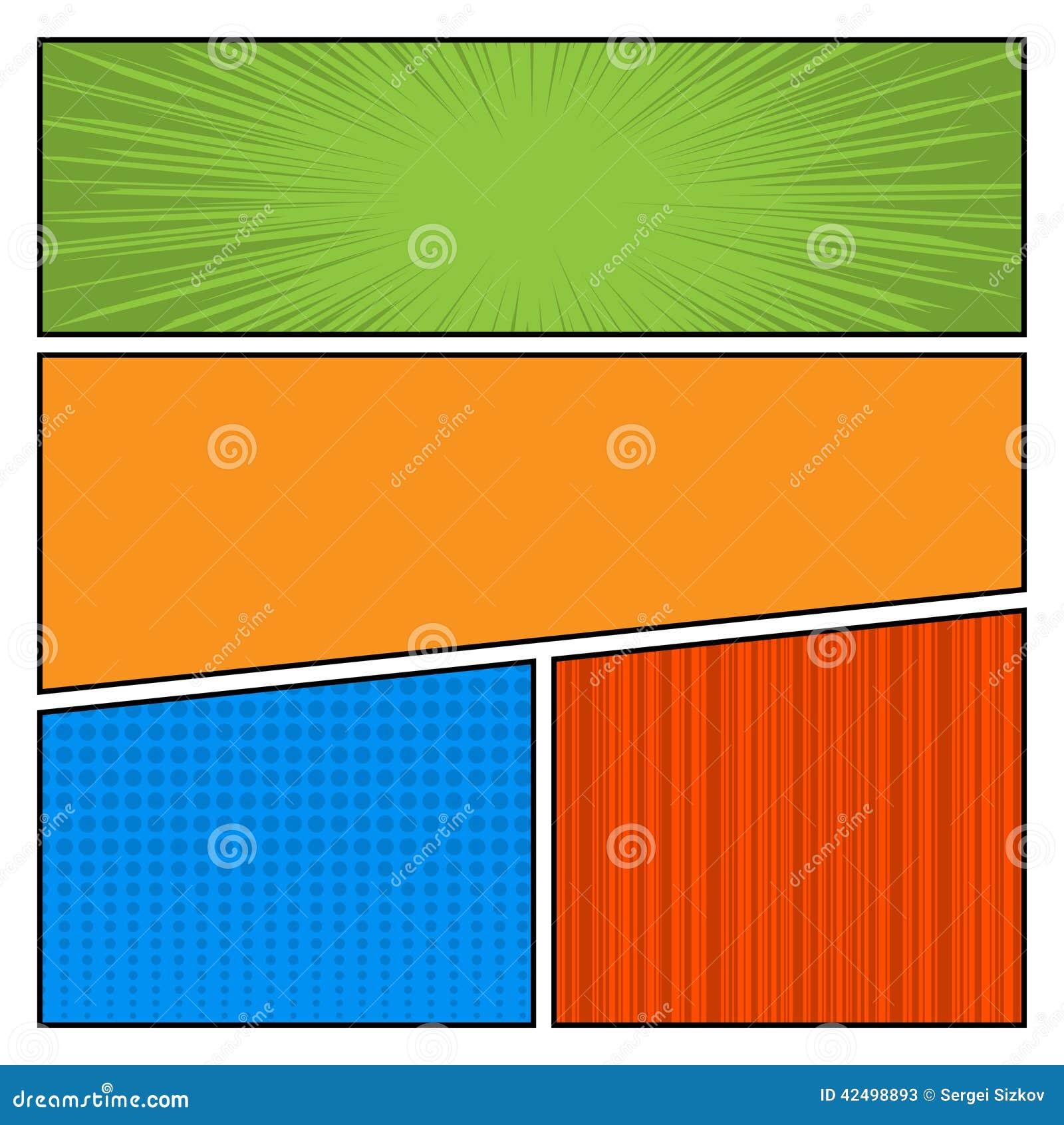Plantilla de la disposición del espacio en blanco del estilo del arte pop del color de los tebeos