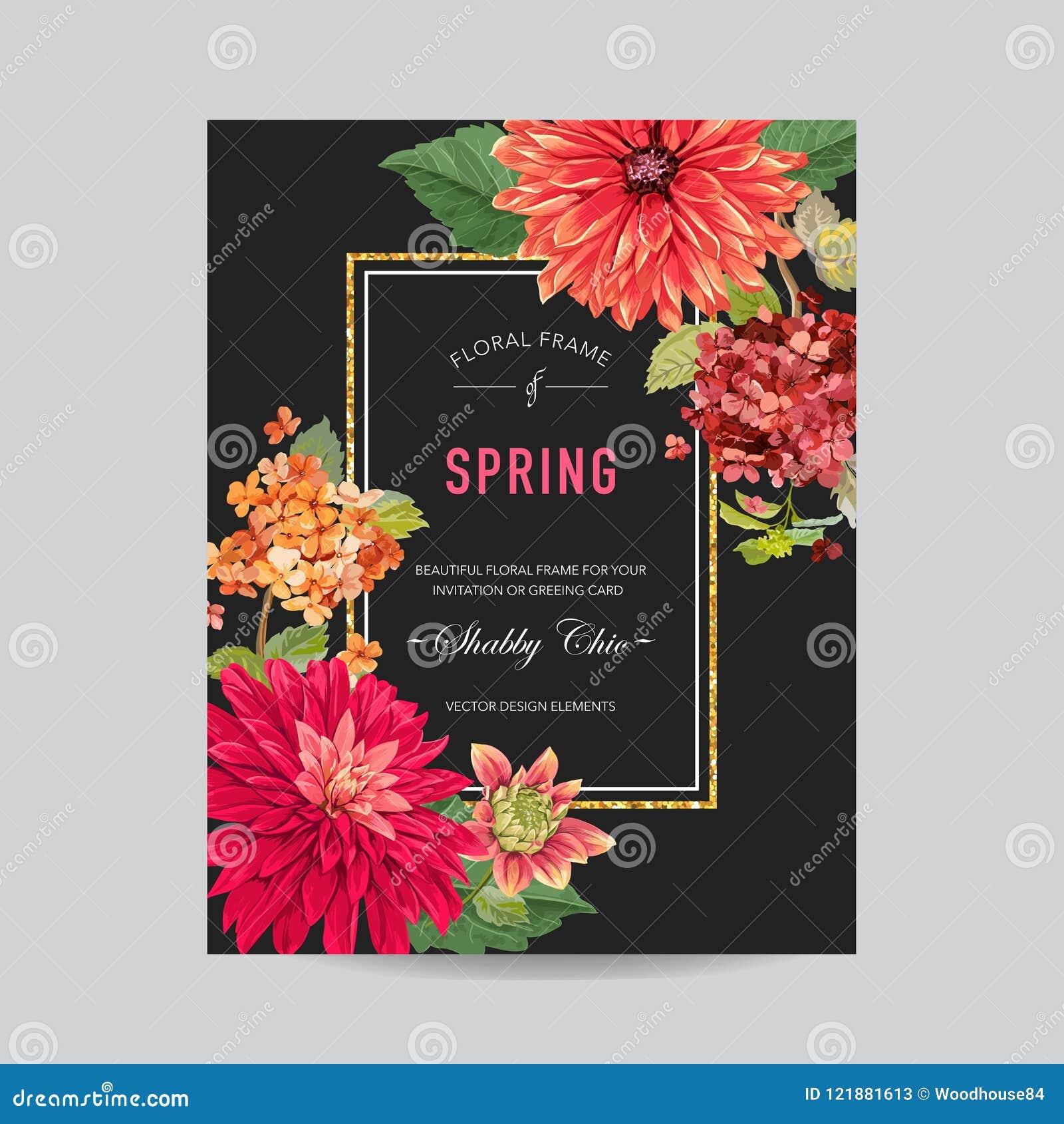 Plantilla de la disposición de la invitación de la boda con las flores rojas de los asteres Ahorre la tarjeta floral de la fecha