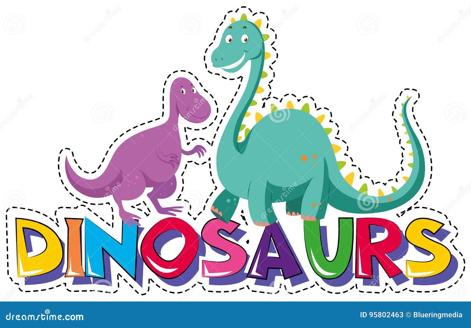 Plantilla De La Etiqueta Engomada Para Los Dinosaurios De La Palabra ...