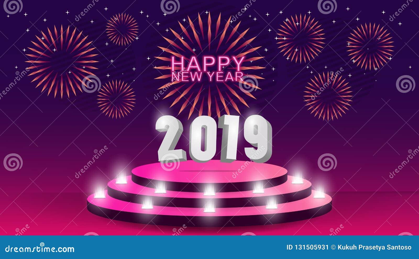 Plantilla de la Feliz Año Nuevo 2019 con el diseño creativo para su tarjeta de felicitaciones, invitación, carteles, folleto, ban