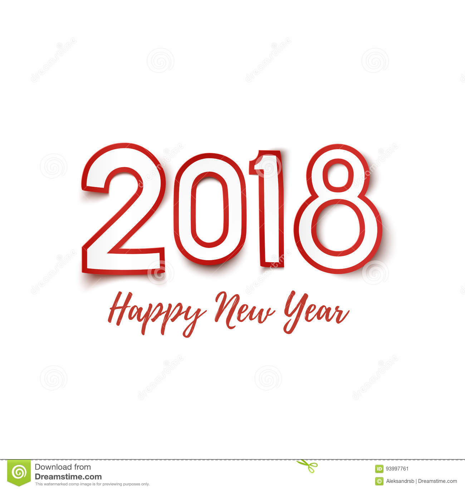 Plantilla 2018 De La Feliz Año Nuevo Para La Tarjeta De Felicitación ...