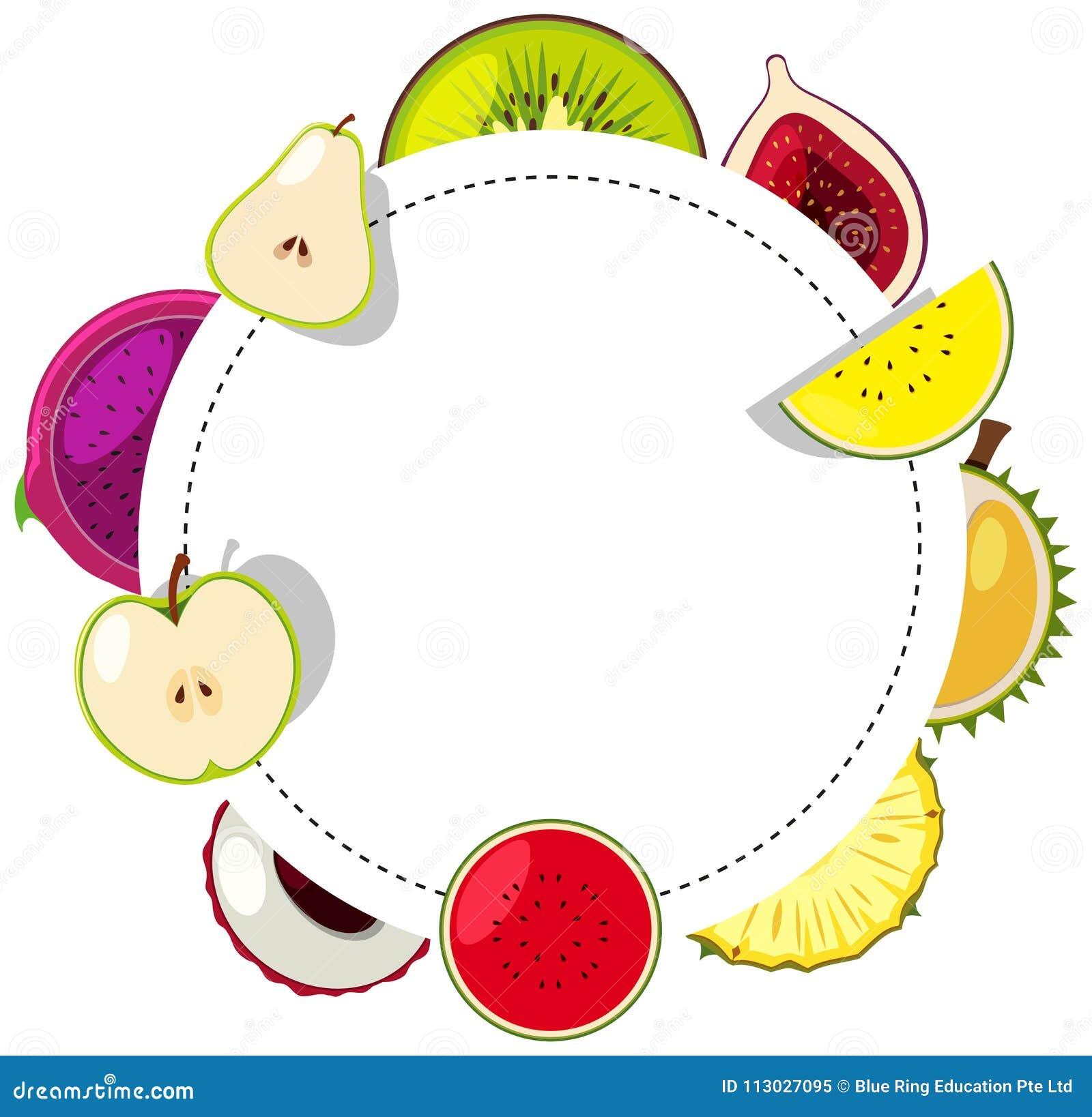 Plantilla de la frontera con las frutas frescas