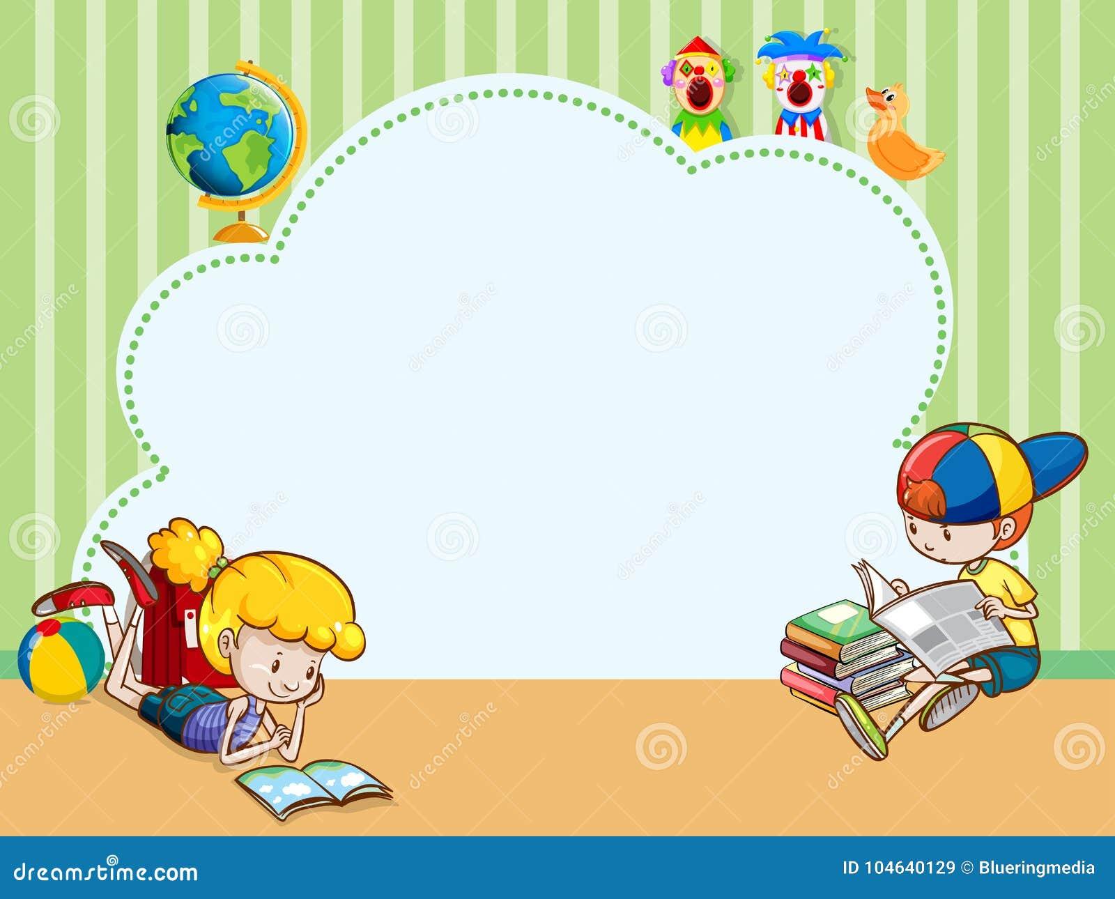 Plantilla De La Frontera Con Los Libros De Lectura De Los Niños ...