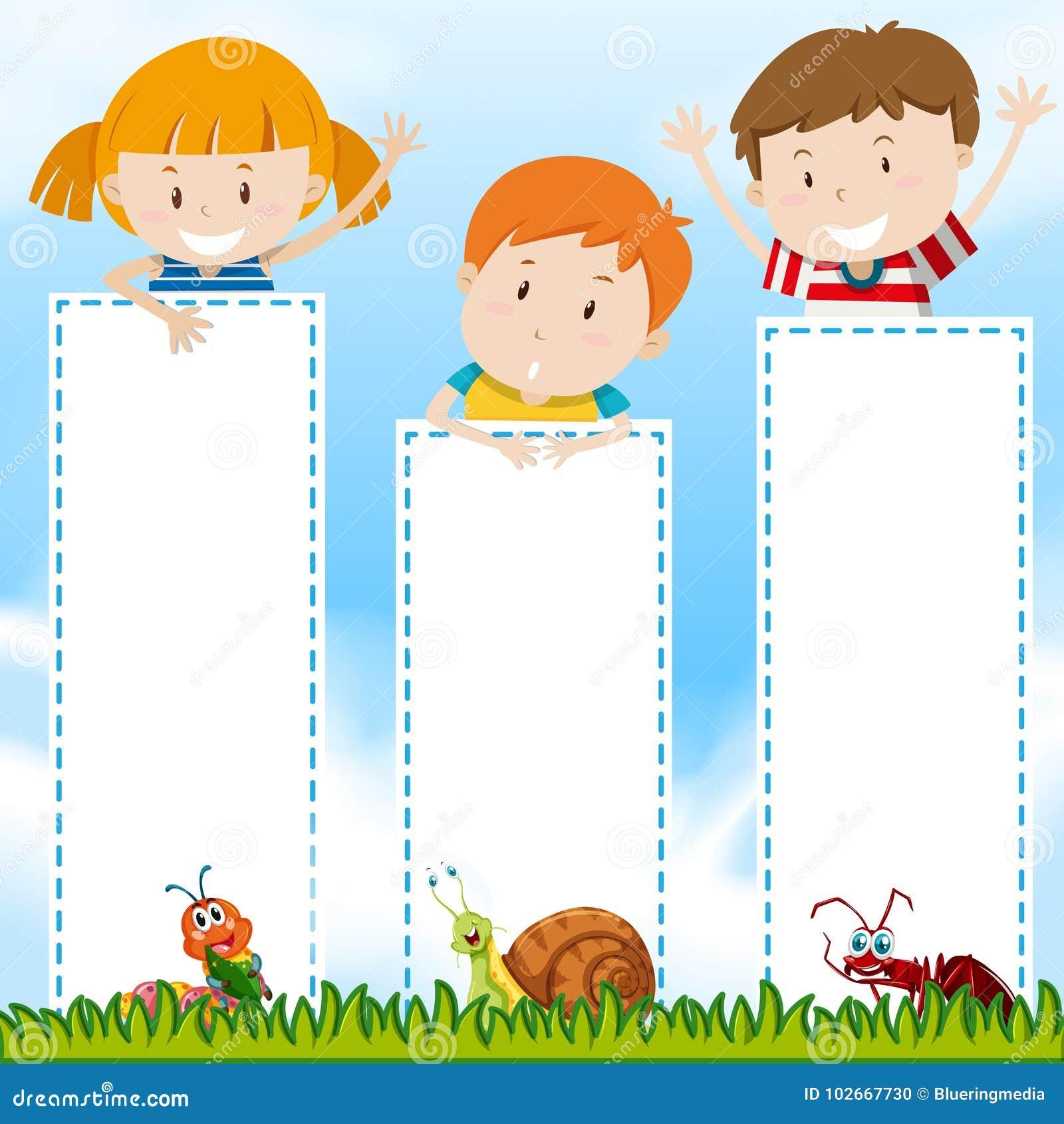 Plantilla de la frontera con los niños en el parque