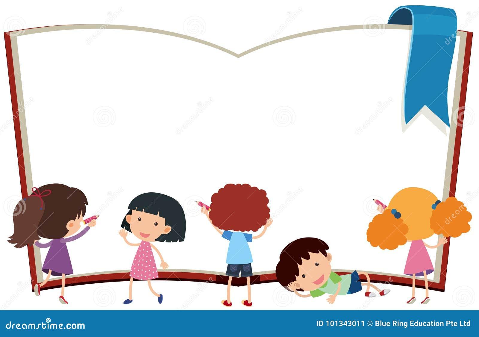 Plantilla De La Frontera Con Los Niños Y El Libro Ilustración del ...