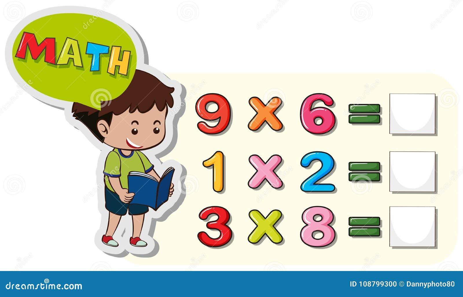 Plantilla De La Hoja De Trabajo De La Matemáticas Con Problemas Del ...