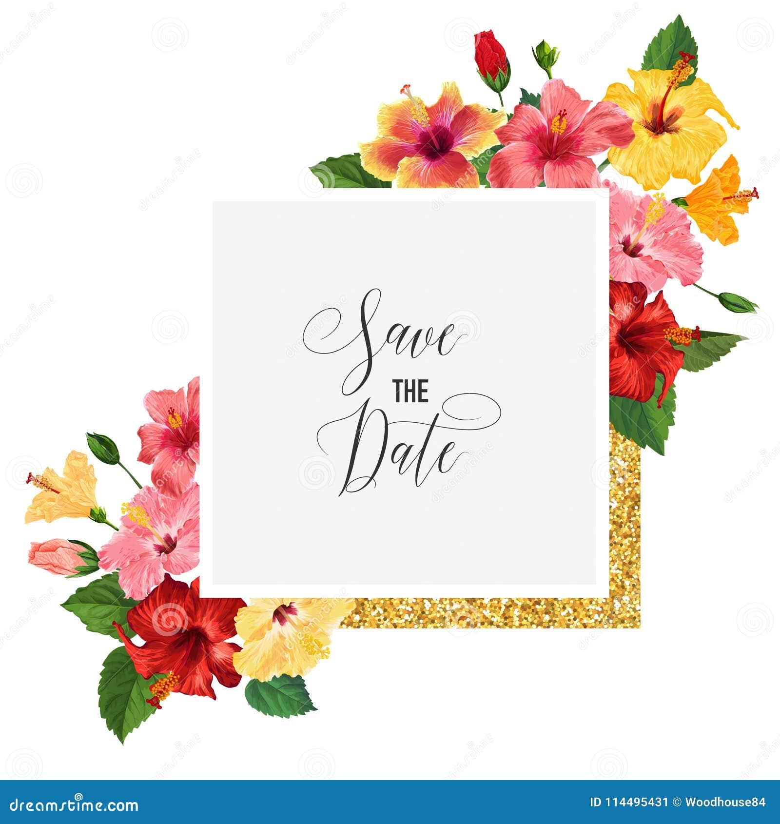 Plantilla De La Invitación De La Boda Con Las Flores Rojas Del ...