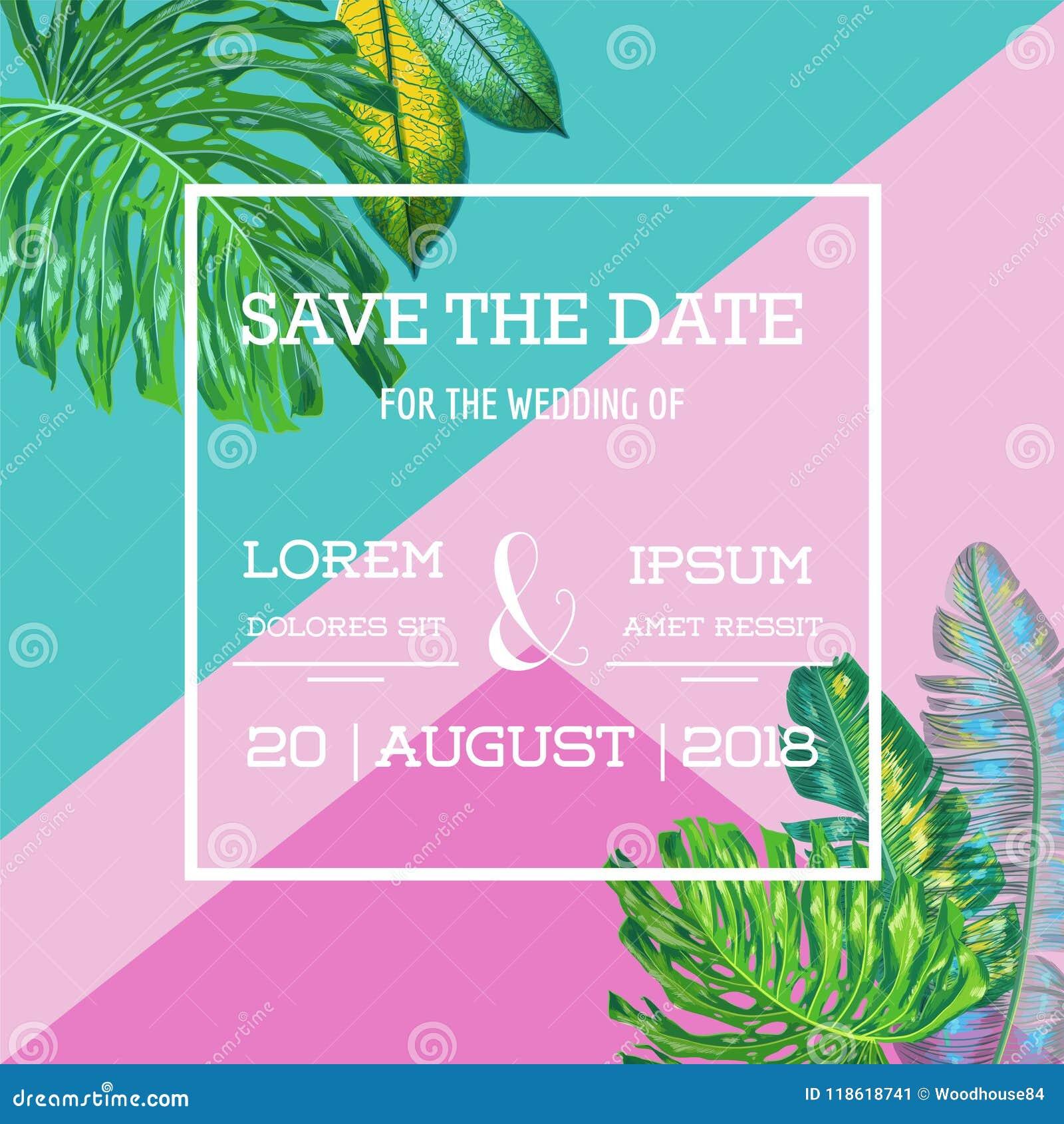 Plantilla de la invitación de la boda con las hojas de palma Reserva tropical la tarjeta de fecha Diseño botánico para el cartel,