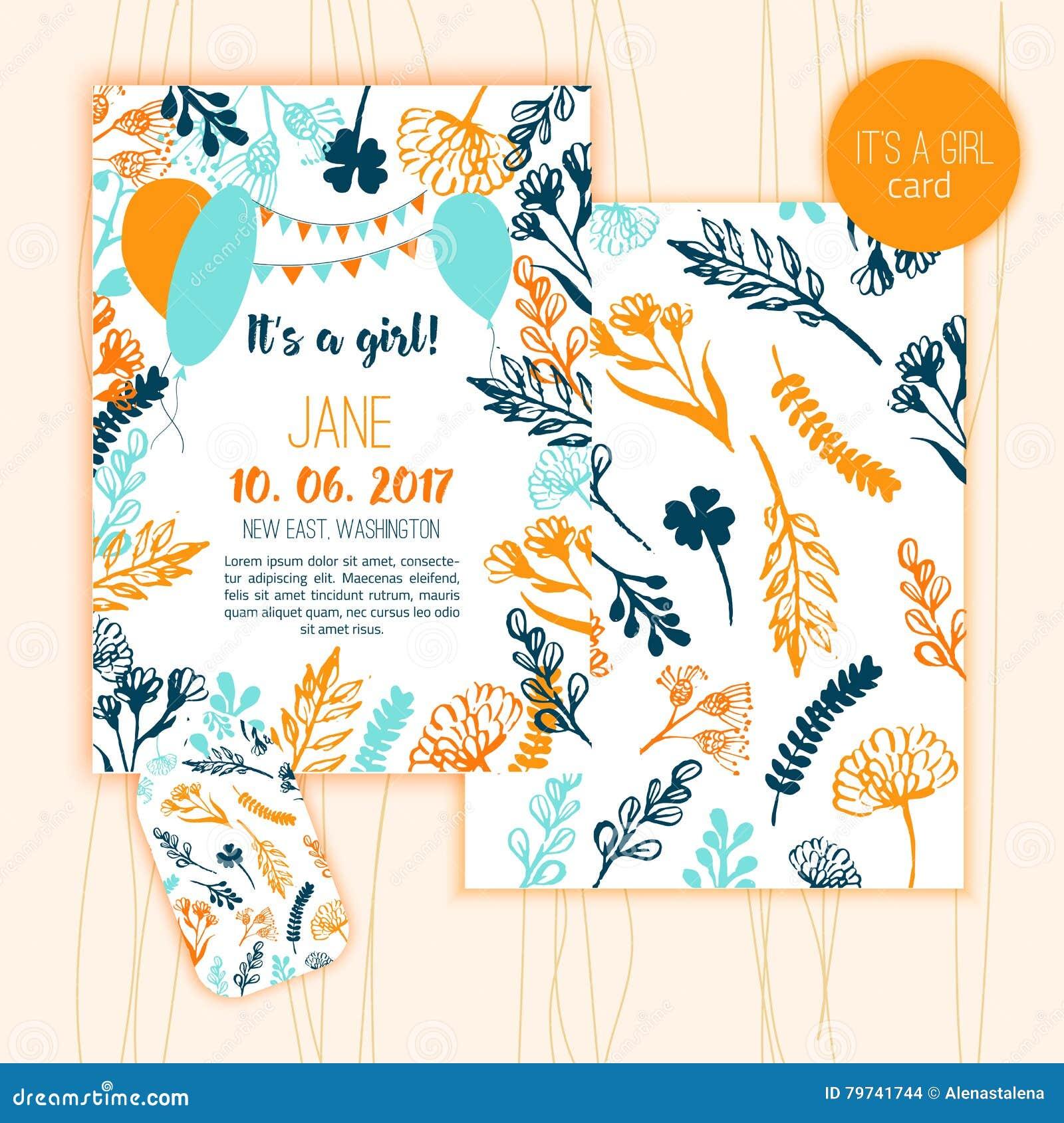Plantilla de la invitación de la fiesta de bienvenida al bebé con las letras de la mano y elementos florales en fondo de madera E